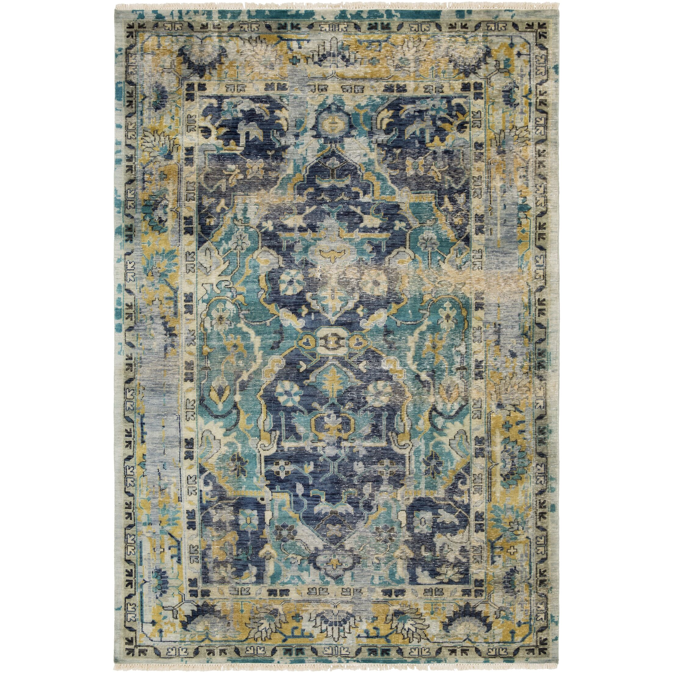 Makenna Hand-Knotted Navy/Teal Area Rug Rug Size: Rectangle 6' x 9'