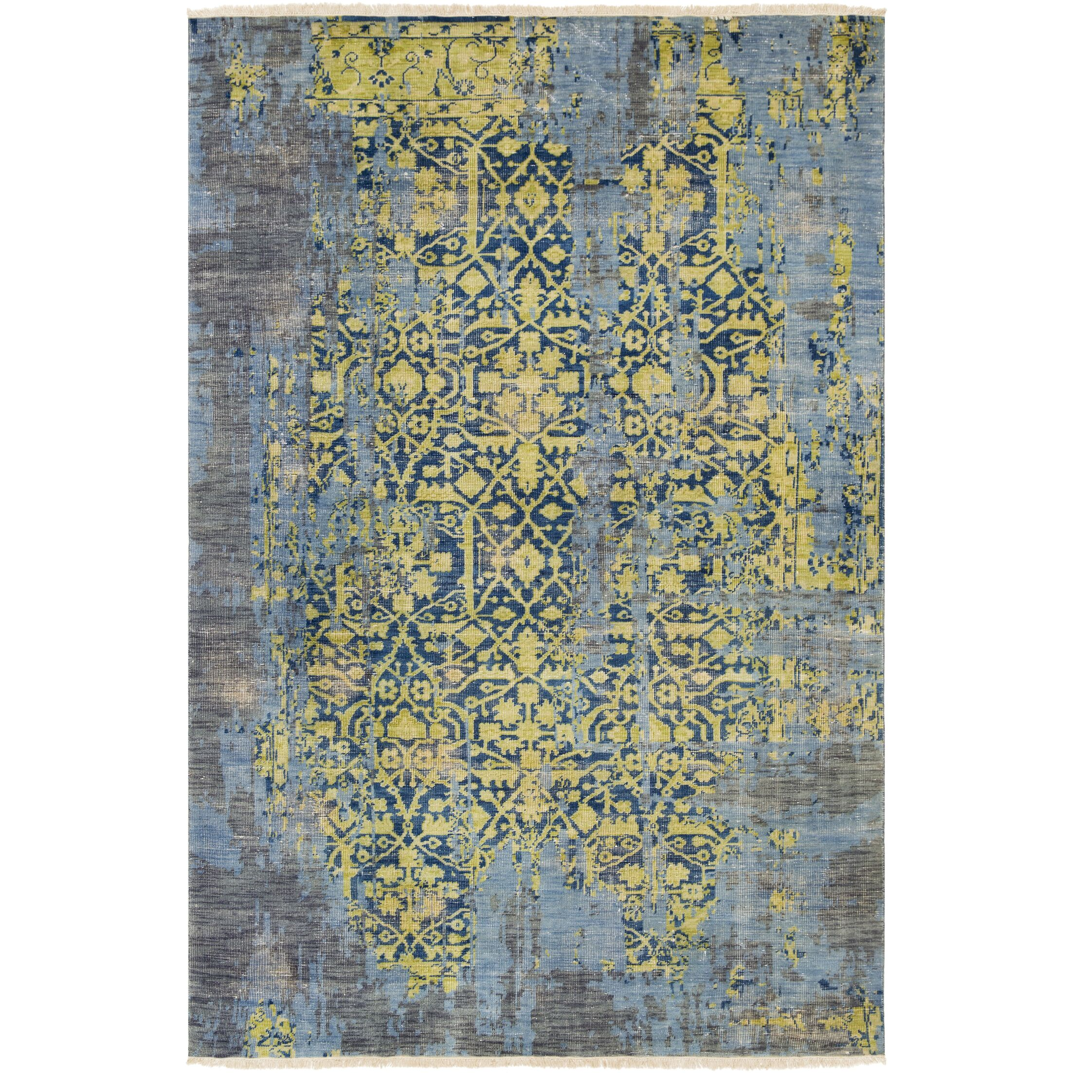 Makenna Hand-Knotted Lime/Denim Area Rug Rug Size: Rectangle 6' x 9'