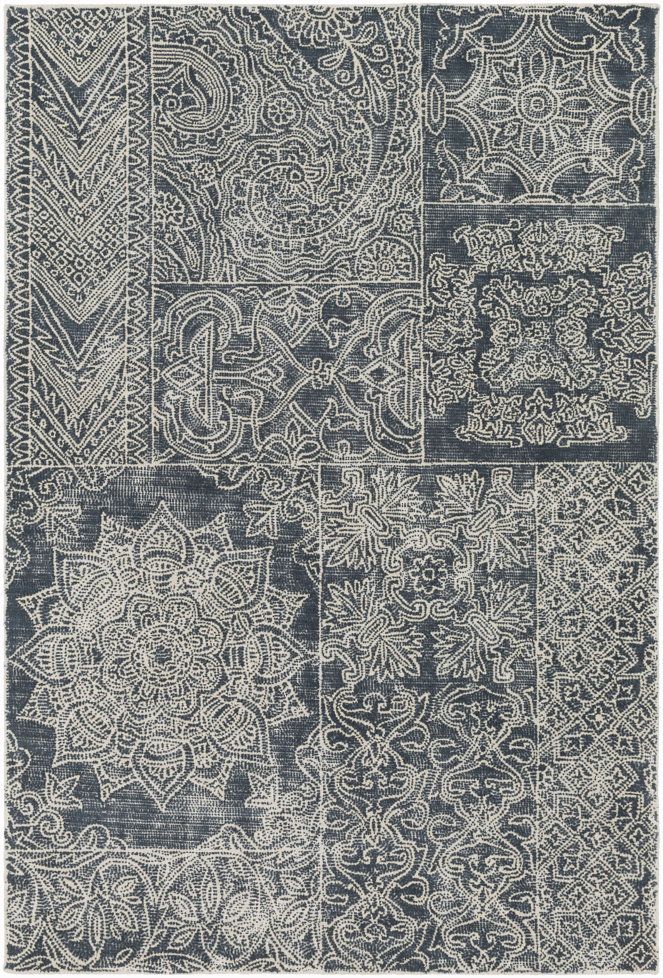Knowland Hand-Tufted Navy/Cream Area Rug Rug Size: Rectangle 5' x 7'6