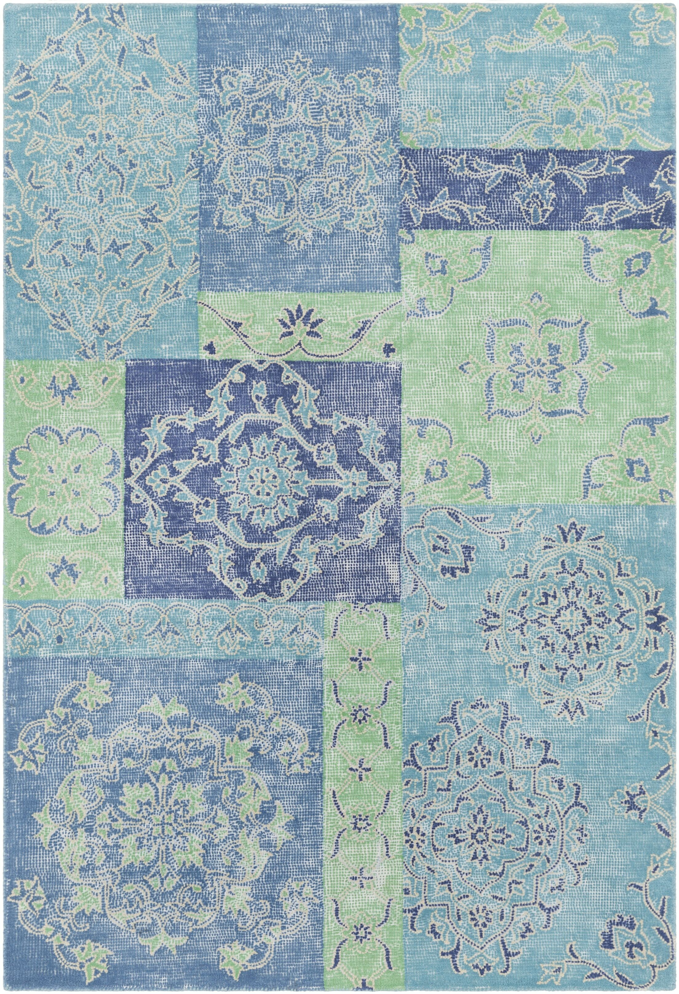 Knowland Hand-Tufted Denim/Teal Area Rug Rug Size: Rectangle 5' x 7'6