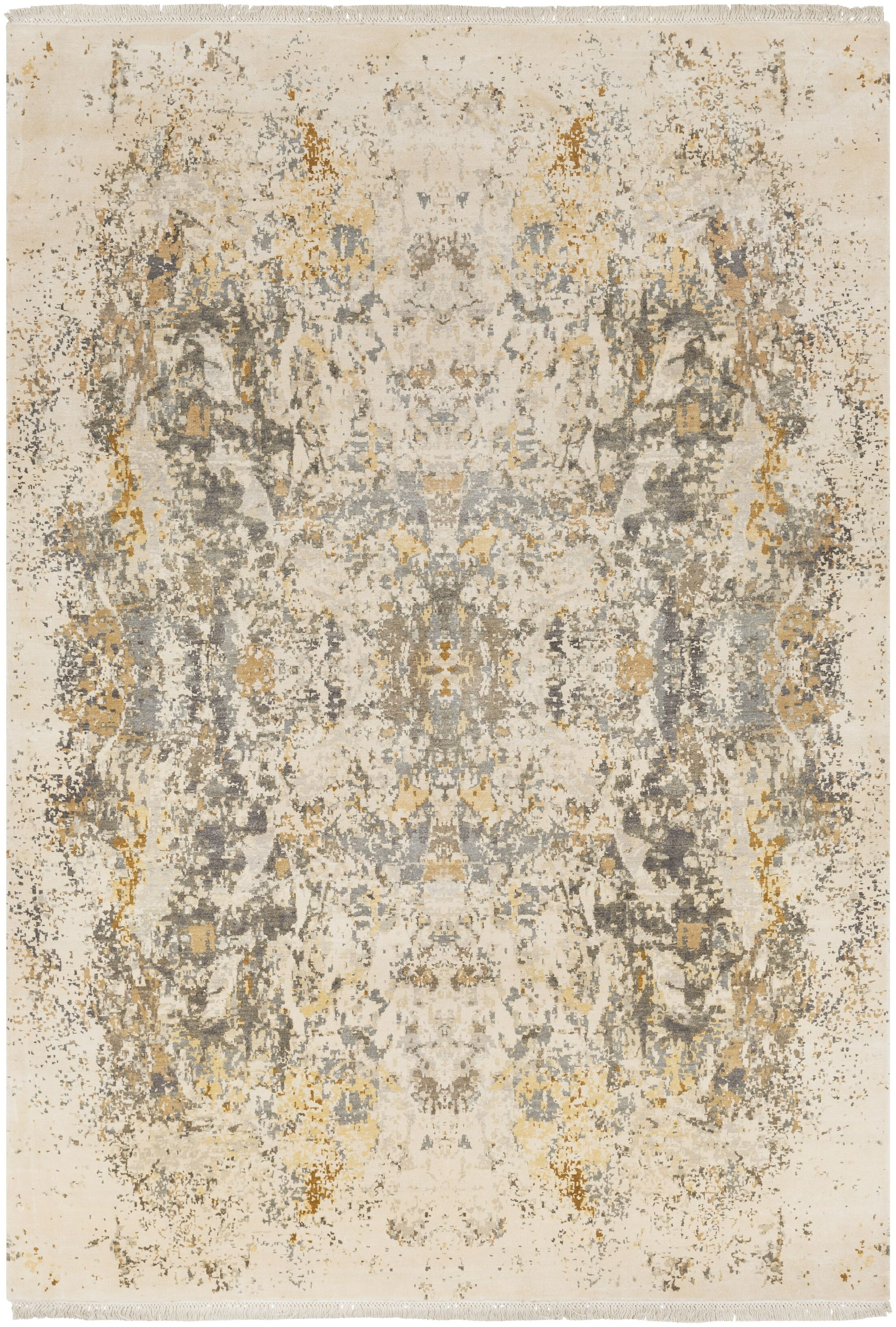 Daniella Hand-Knotted Medium Gray/Camel Area Rug Rug Size: Rectangle 9' x 13'