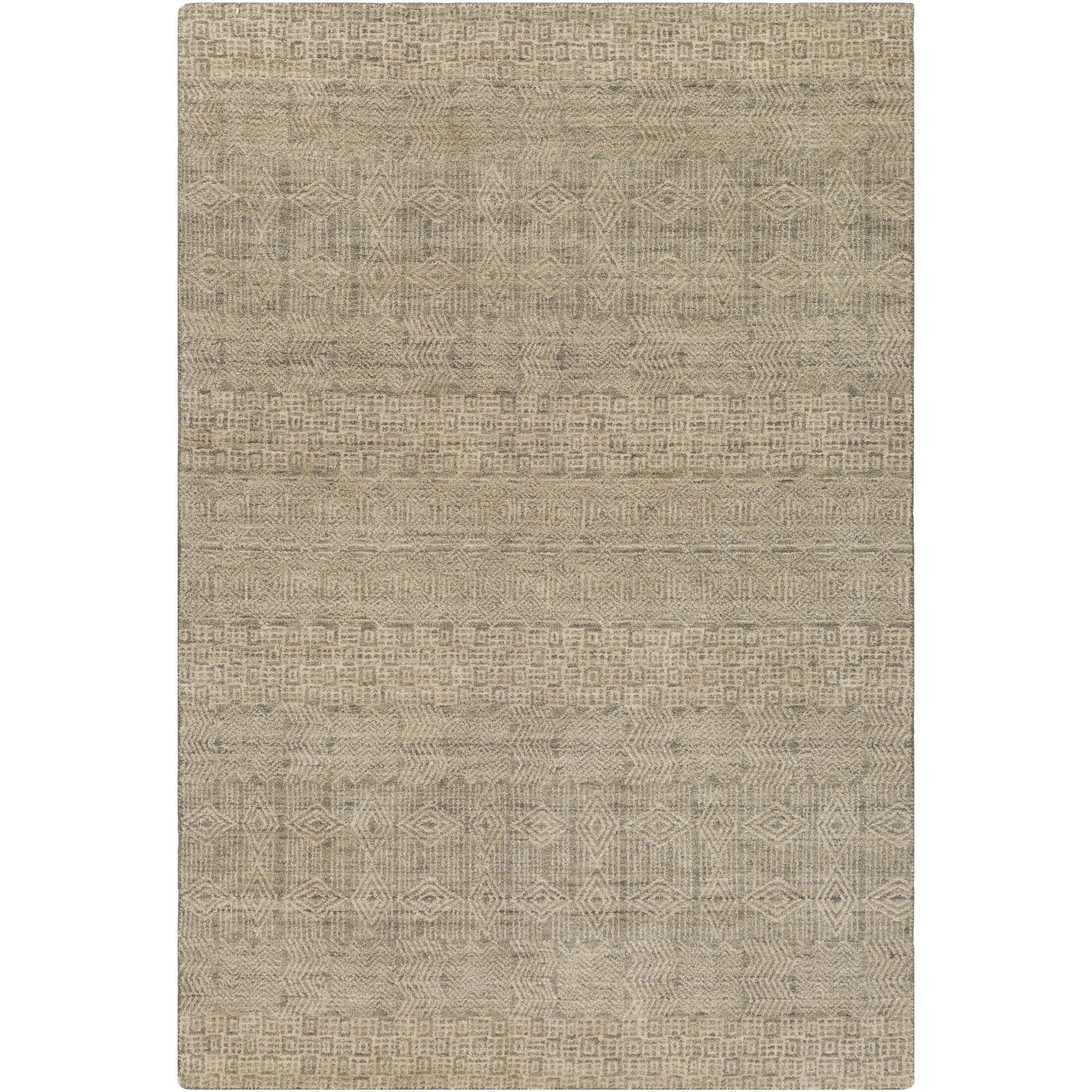 Neville Hand-Knotted Dark Green/Beige Area Rug Rug Size: Rectangle 2' x 3'
