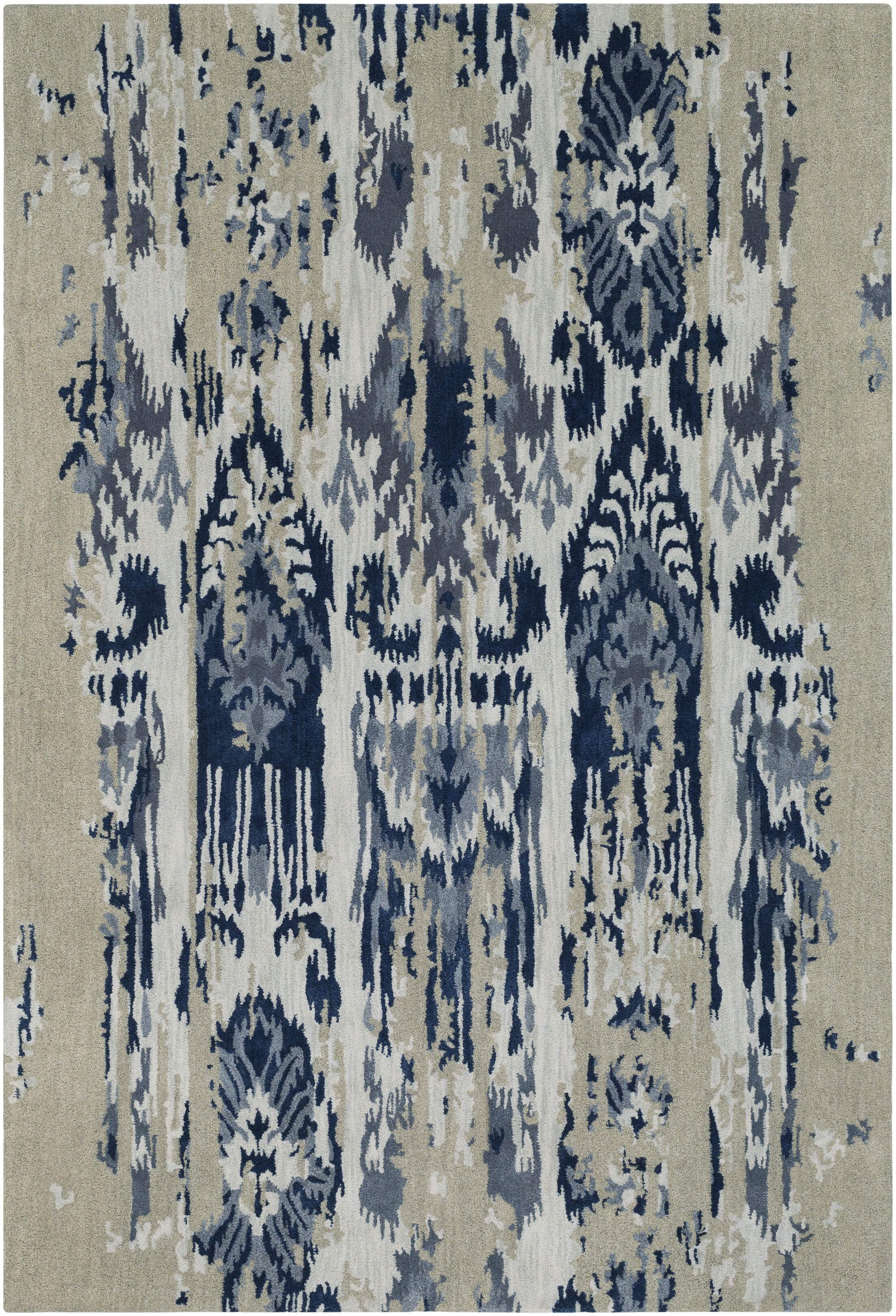 Corinne Hand-Tufted Medium Gray/Navy Area Rug Rug Size: Rectangle 2' x 3'