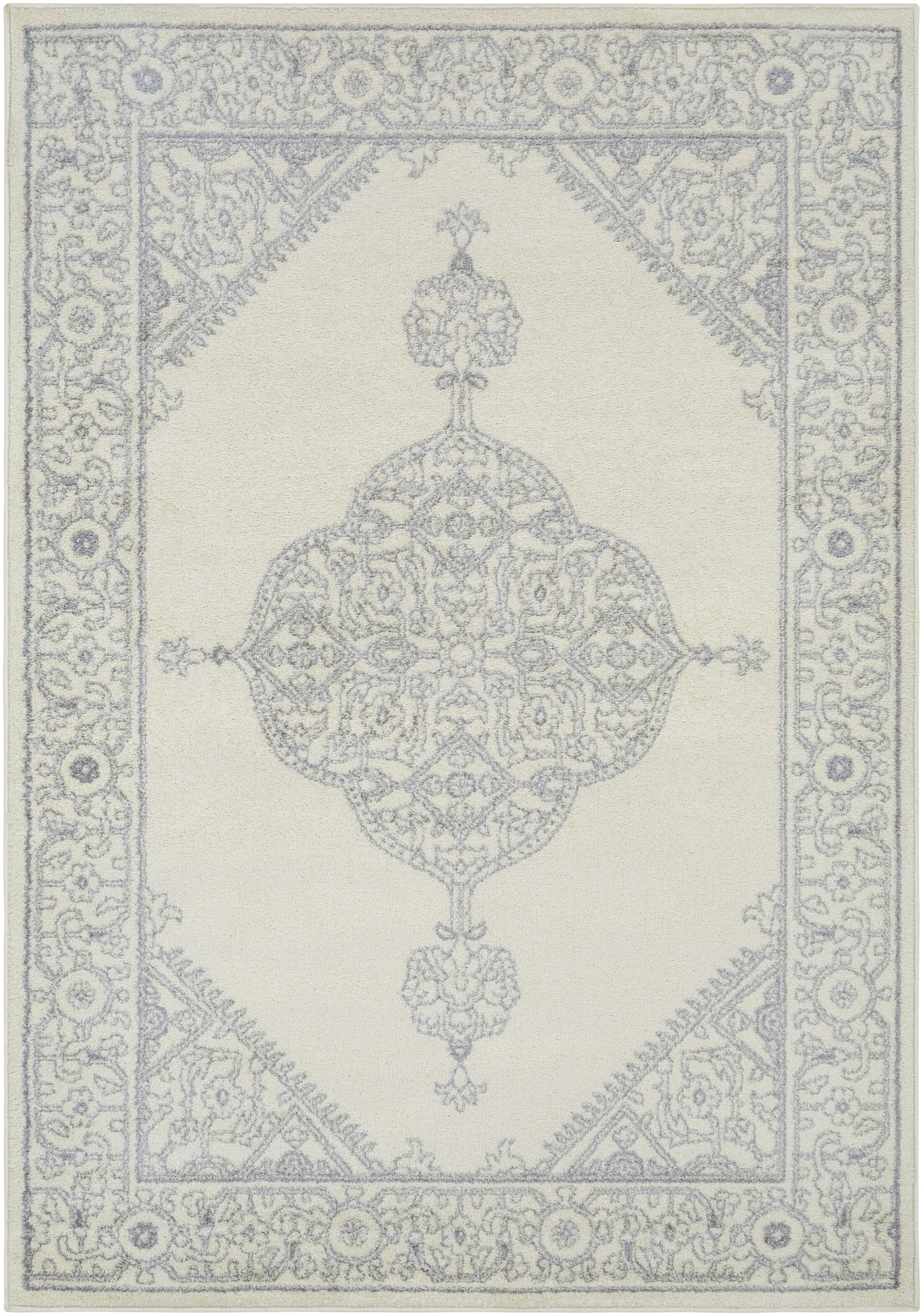 Corinna Medium Gray/Cream Area Rug Rug Size: Rectangle 8' x 10'