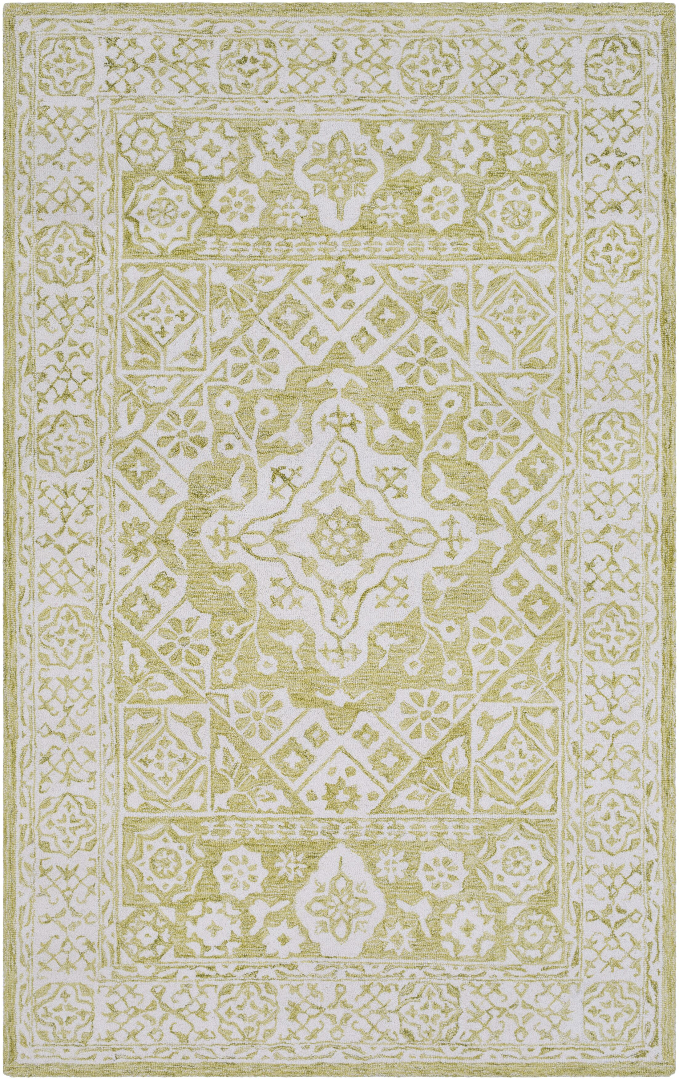 Baconton Hand-Hooked Lime/White Area Rug Rug Size: Rectangle 5' x 7'6