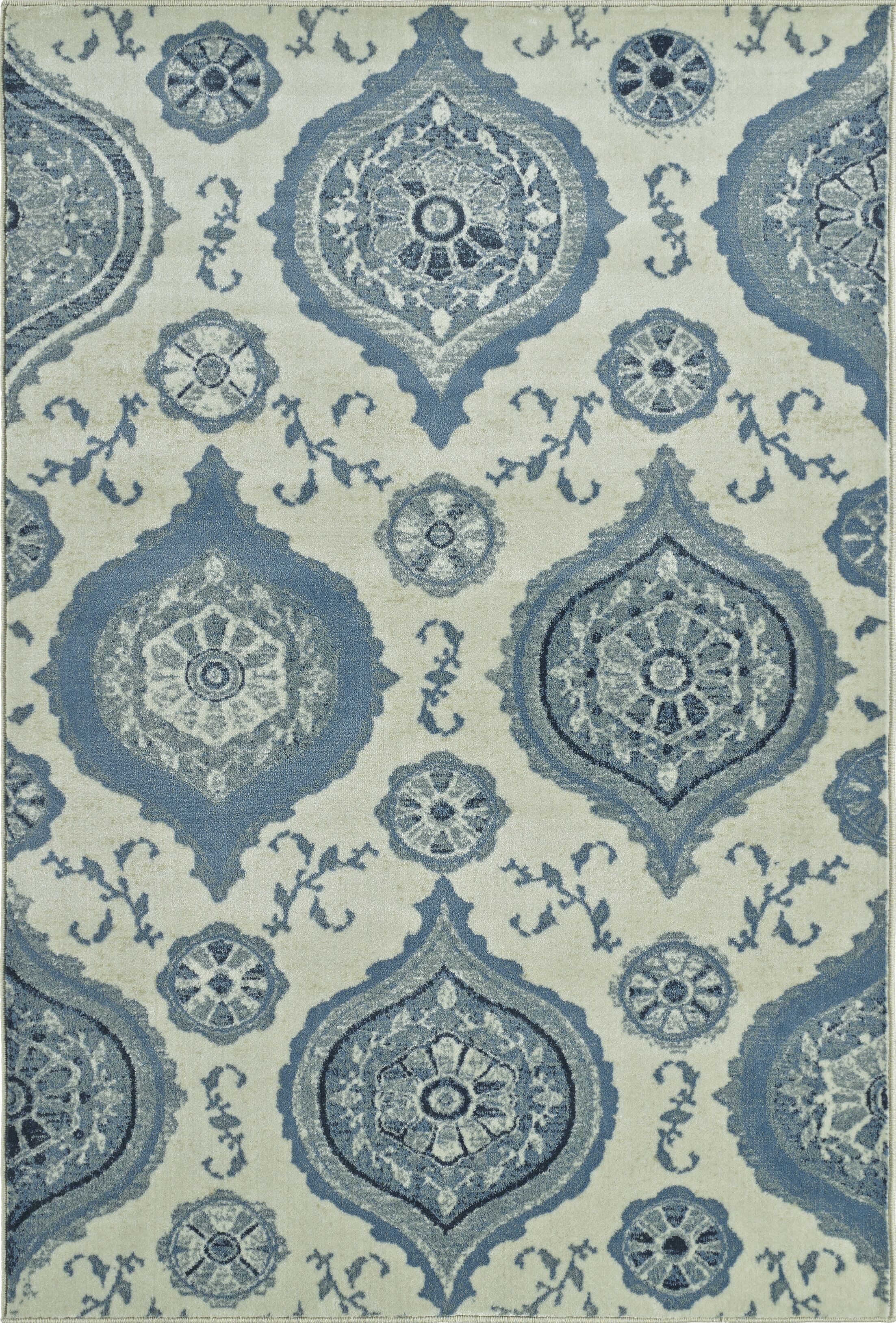 Birtha Blue/Ivory Area Rug Rug Size: Rectangle 8'2