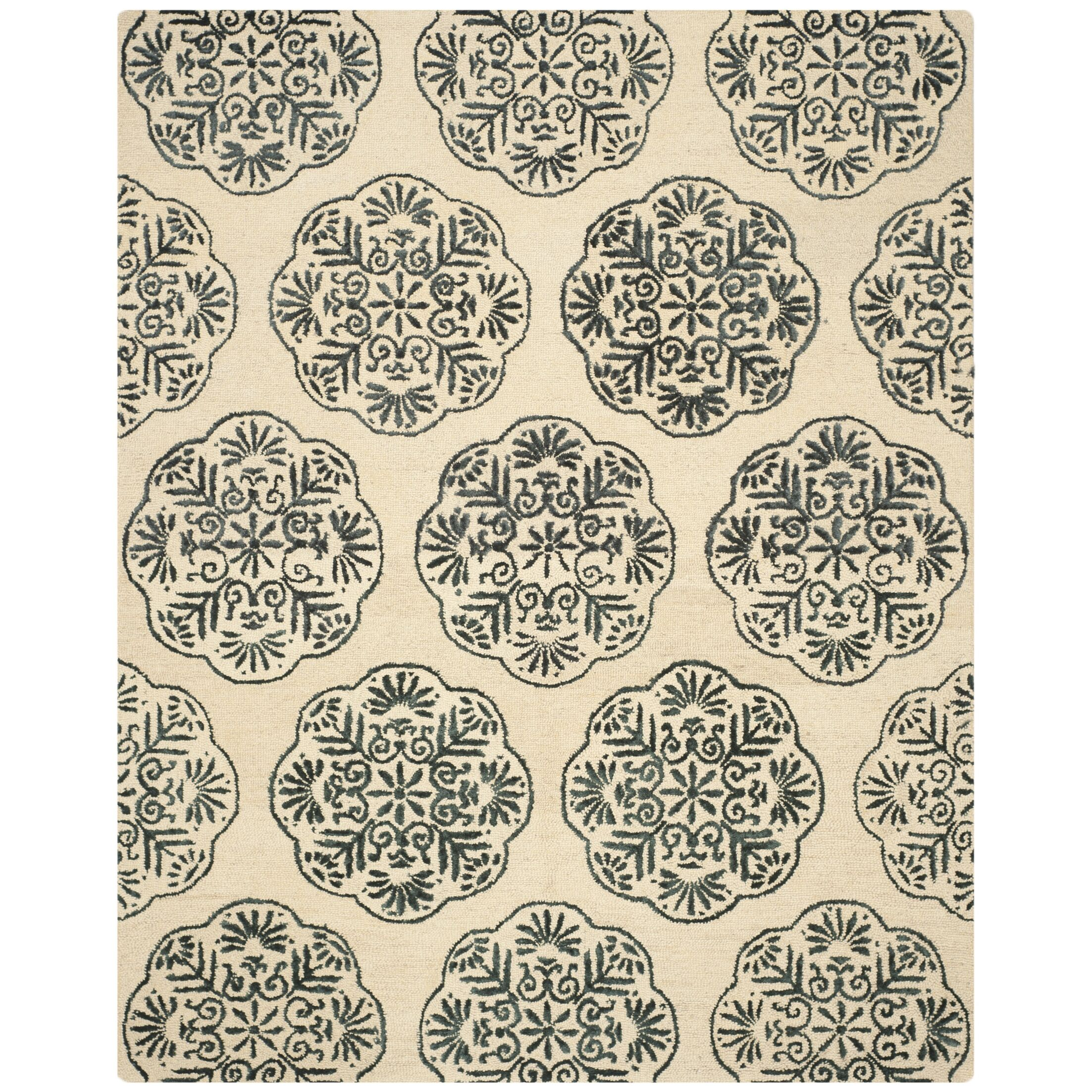 Rudra Ivory/Charcoal Area Rug Rug Size: Rectangle 4' x 6'