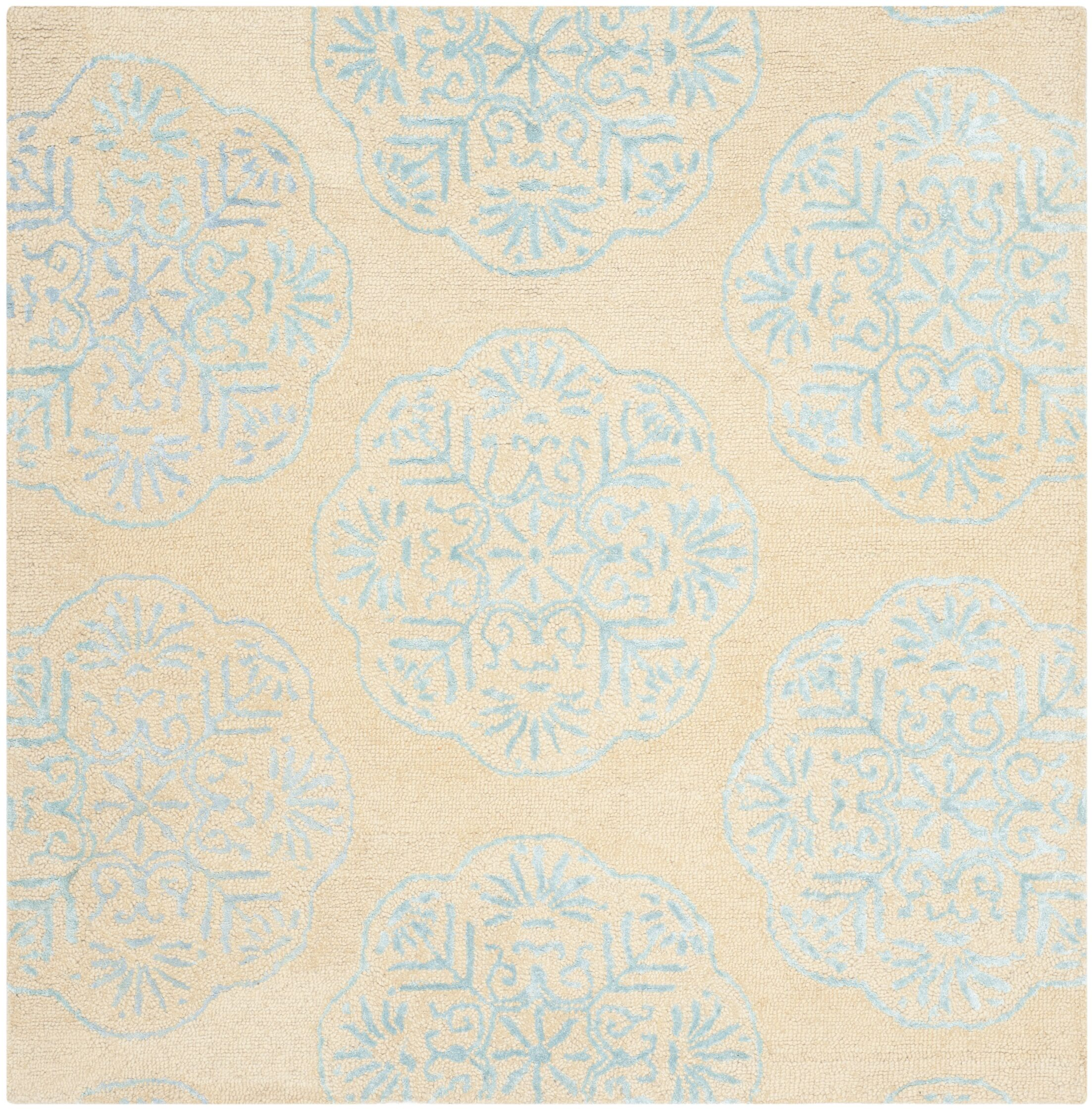 Rudra Beige/Turquoise Area Rug Rug Size: Square 6'