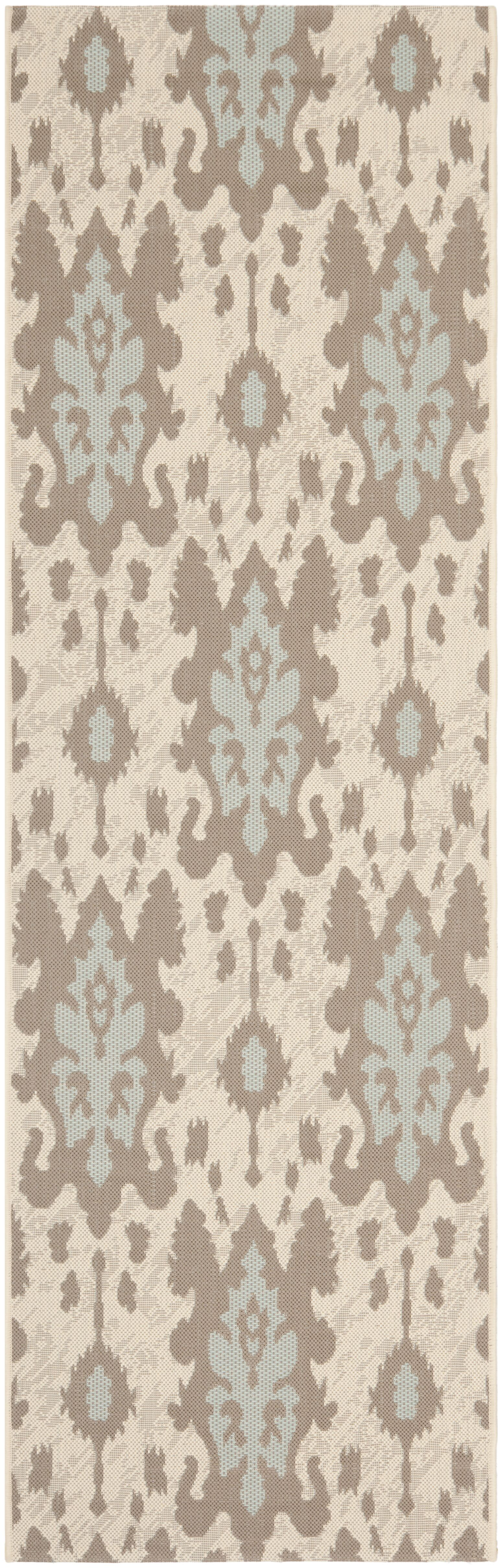 Amedee Beige Dark Beige/Aqua Weft Rug Rug Size: Rectangle 6'7