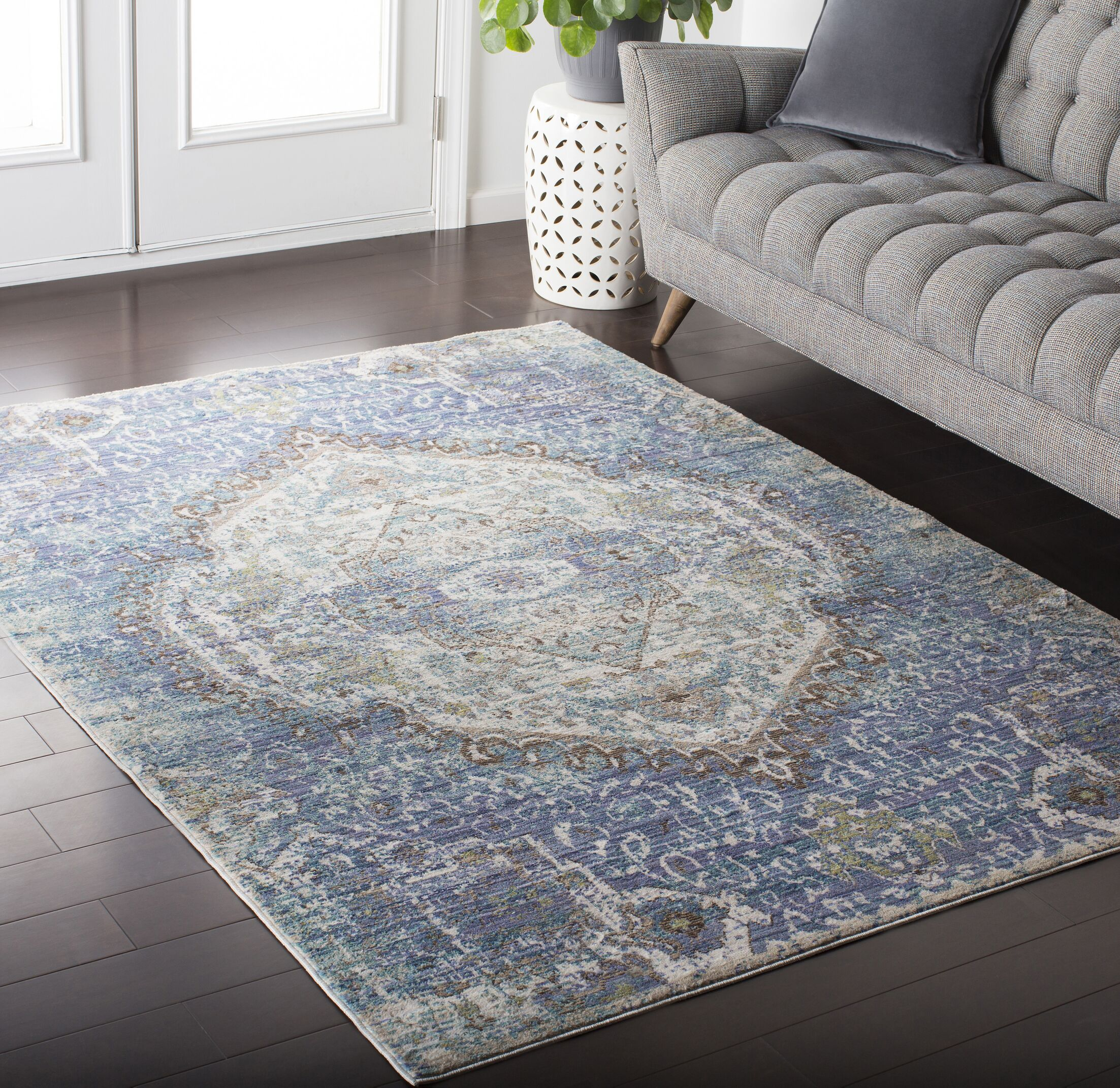 Fields Oriental Purple / Blue Area Rug Rug Size: Rectangle 7'10