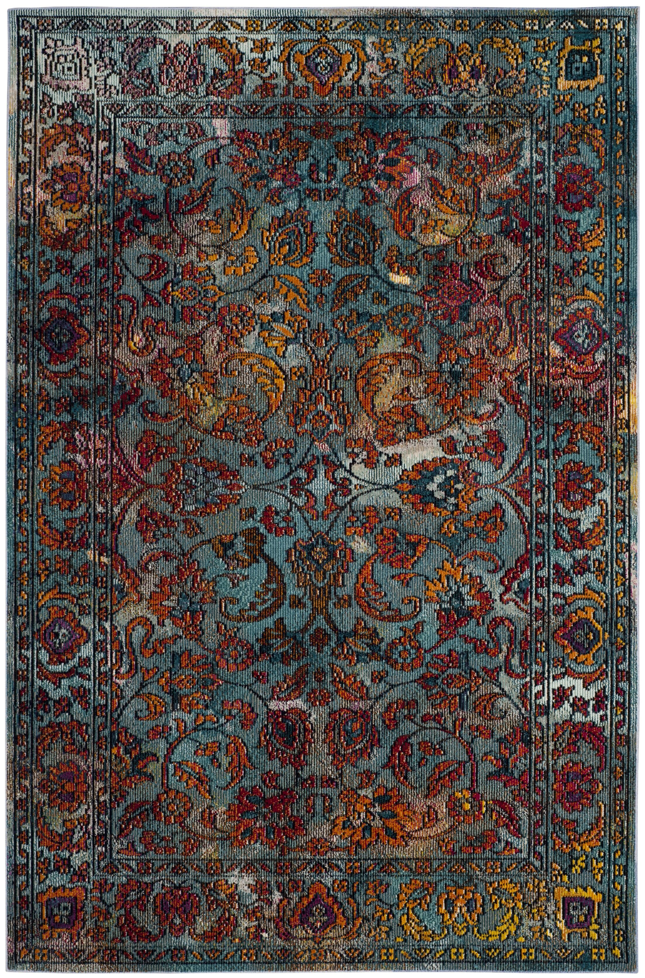 Brazos Light Blue/Orange Area Rug Rug Size: Rectangle 4' x 6'