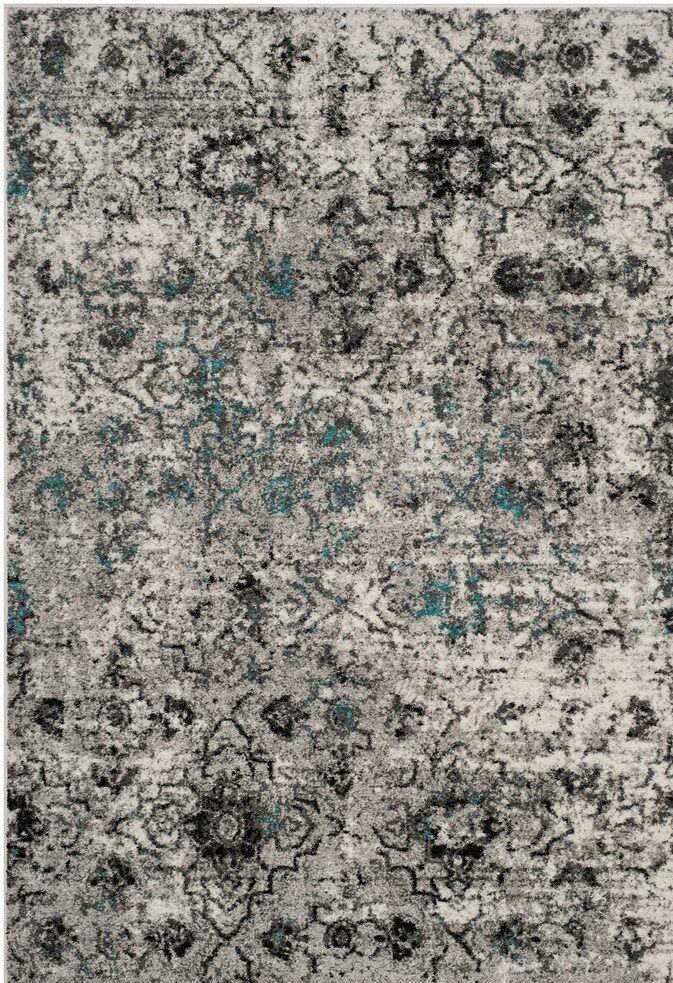 Alisa Gray/Black Area Rug Rug Size: Rectangle 9' x 12'