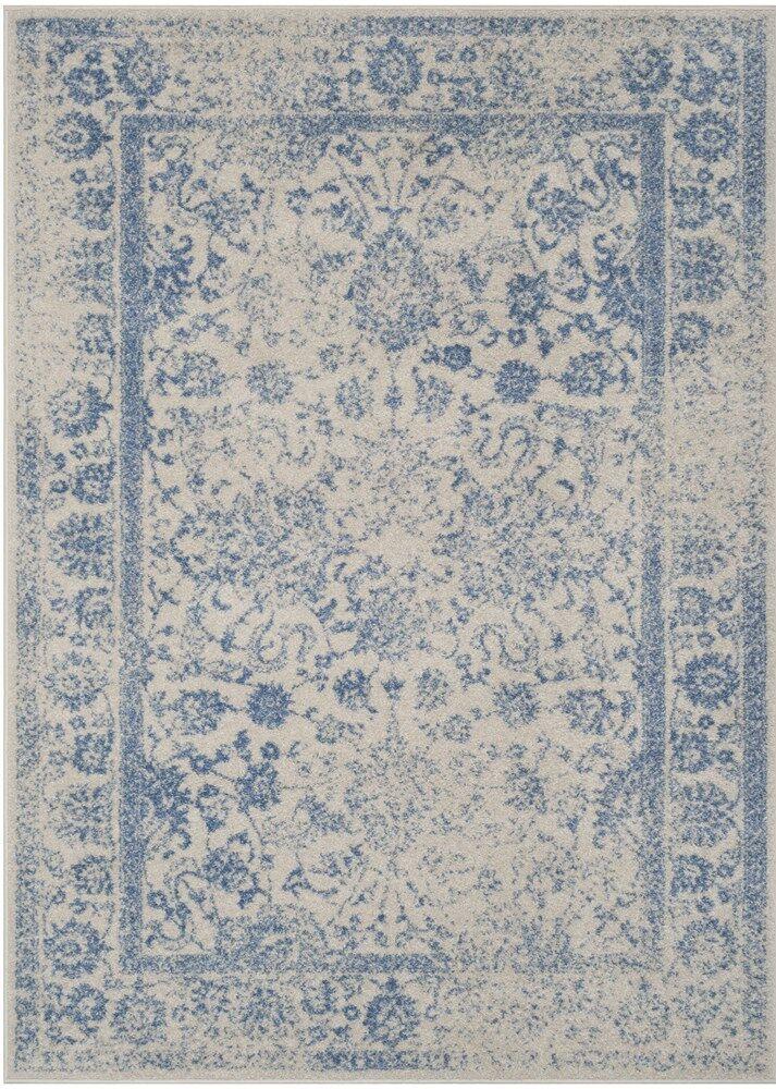Hoyer Ivory/Light Blue Area Rug Rug Size: Square 6'
