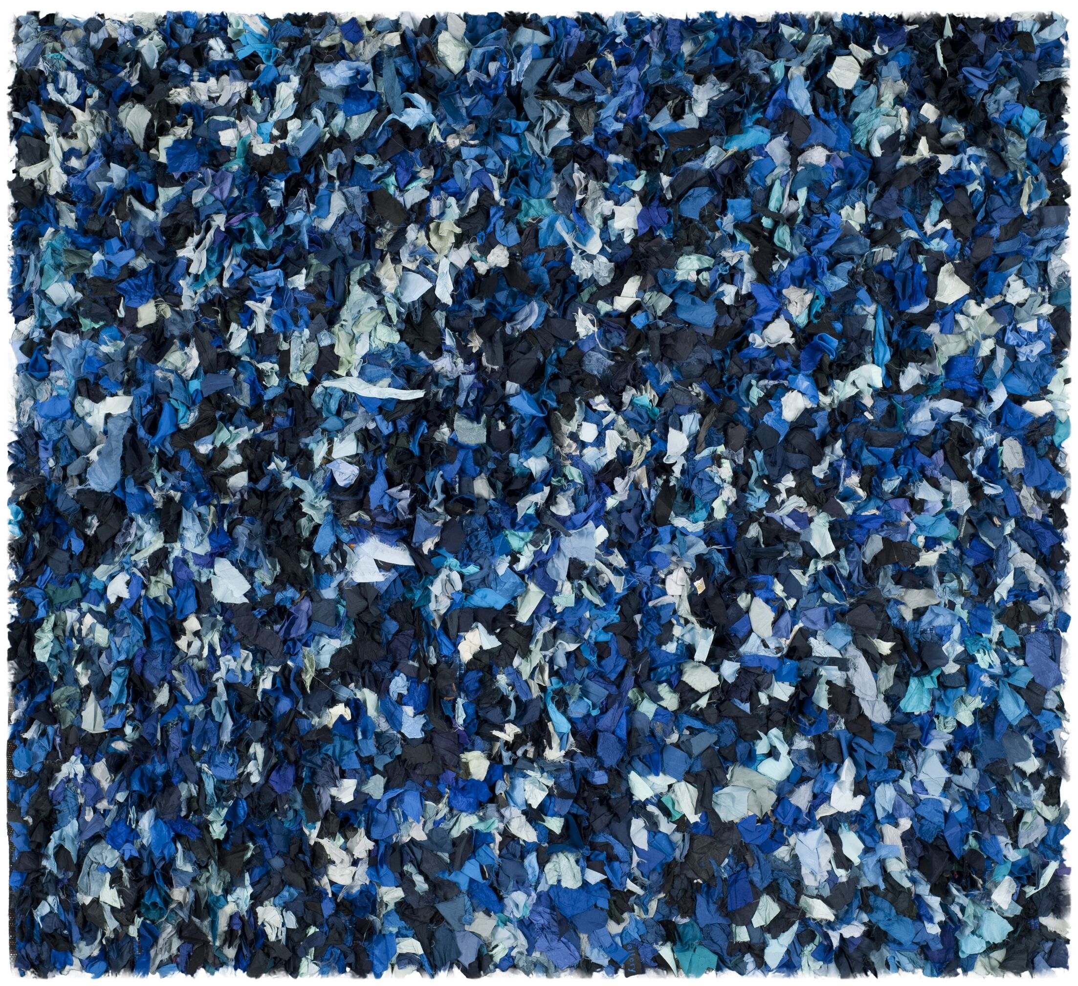 Messiah Hand-Tufted Blue/Black Area Rug Rug Size: Square 8'