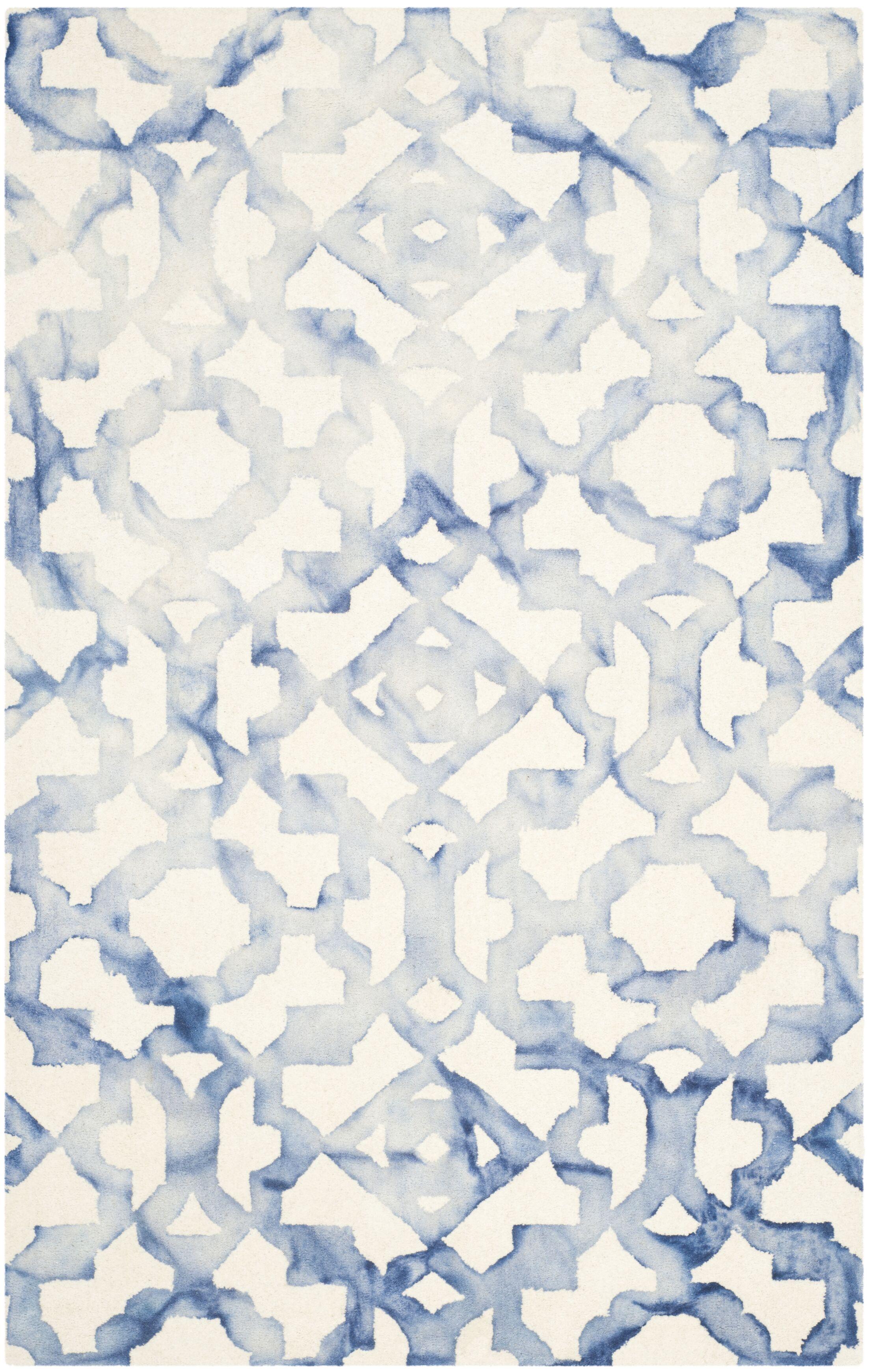 Jawhar Ivory/Blue Area Rug Rug Size: Rectangle 10' x 14'