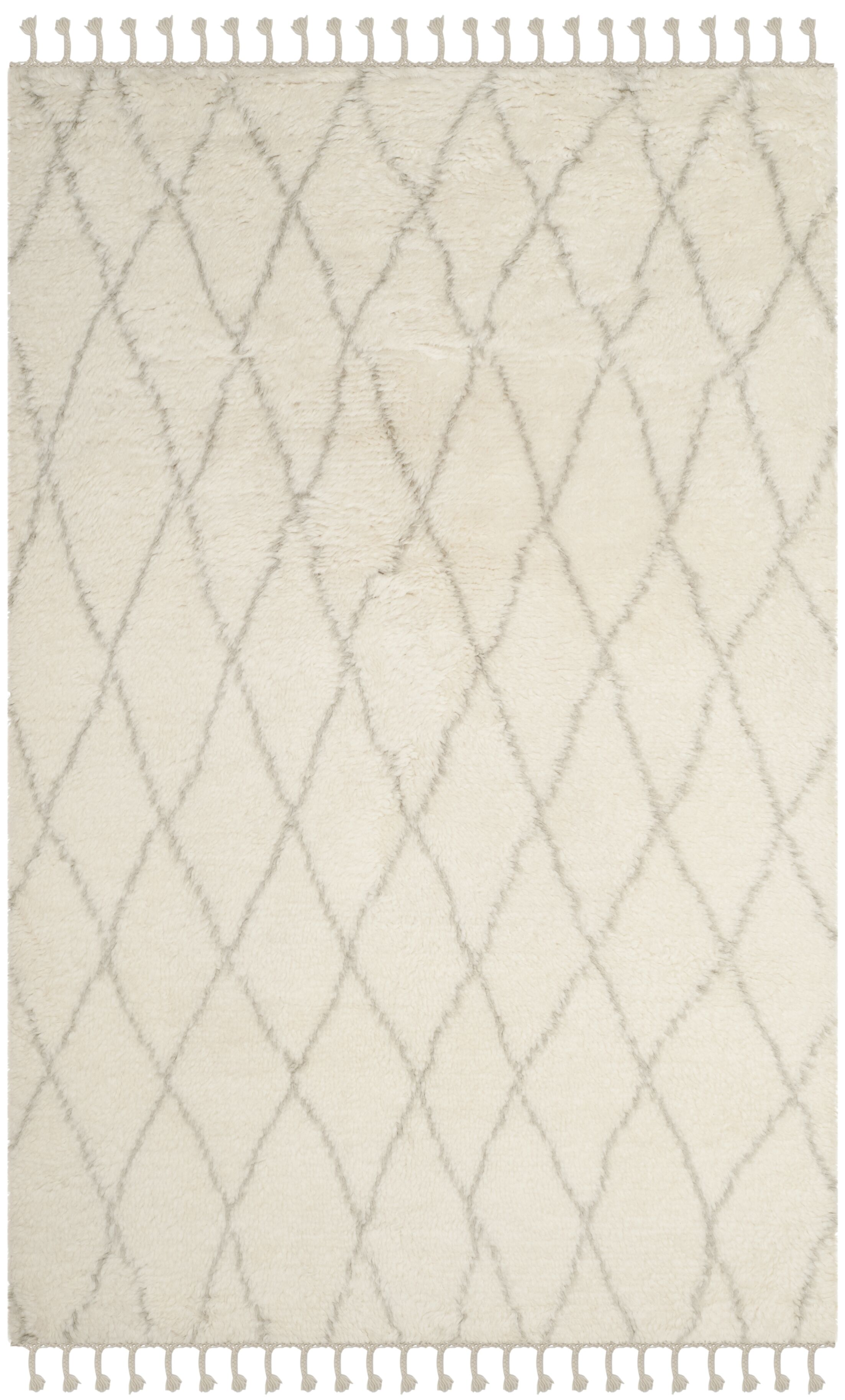 Cosima Hand-Knotted Ivory/Gray Area Rug Rug Size: Rectangle 8' x 10'