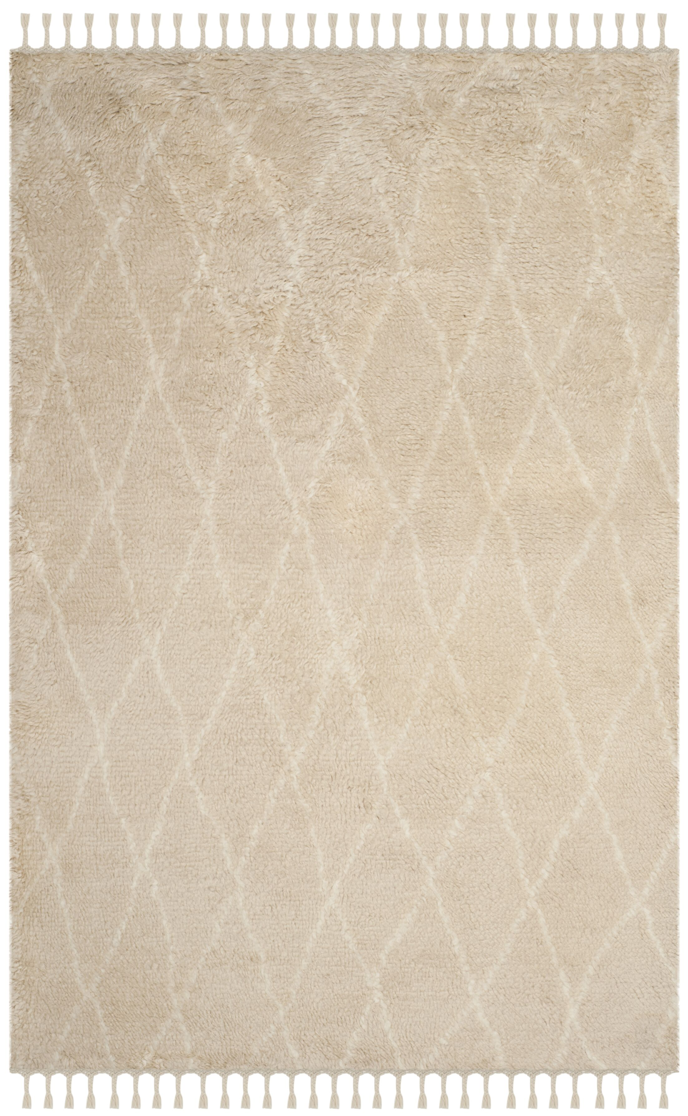 Cosima Hand-Knotted Beige/Ivory Area Rug Rug Size: Rectangle 4' x 6'