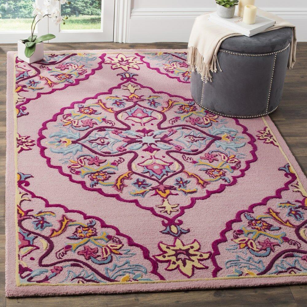 Blokzijl Hand-Tufted Pink Area Rug Rug Size: Rectangle 8' x 10'