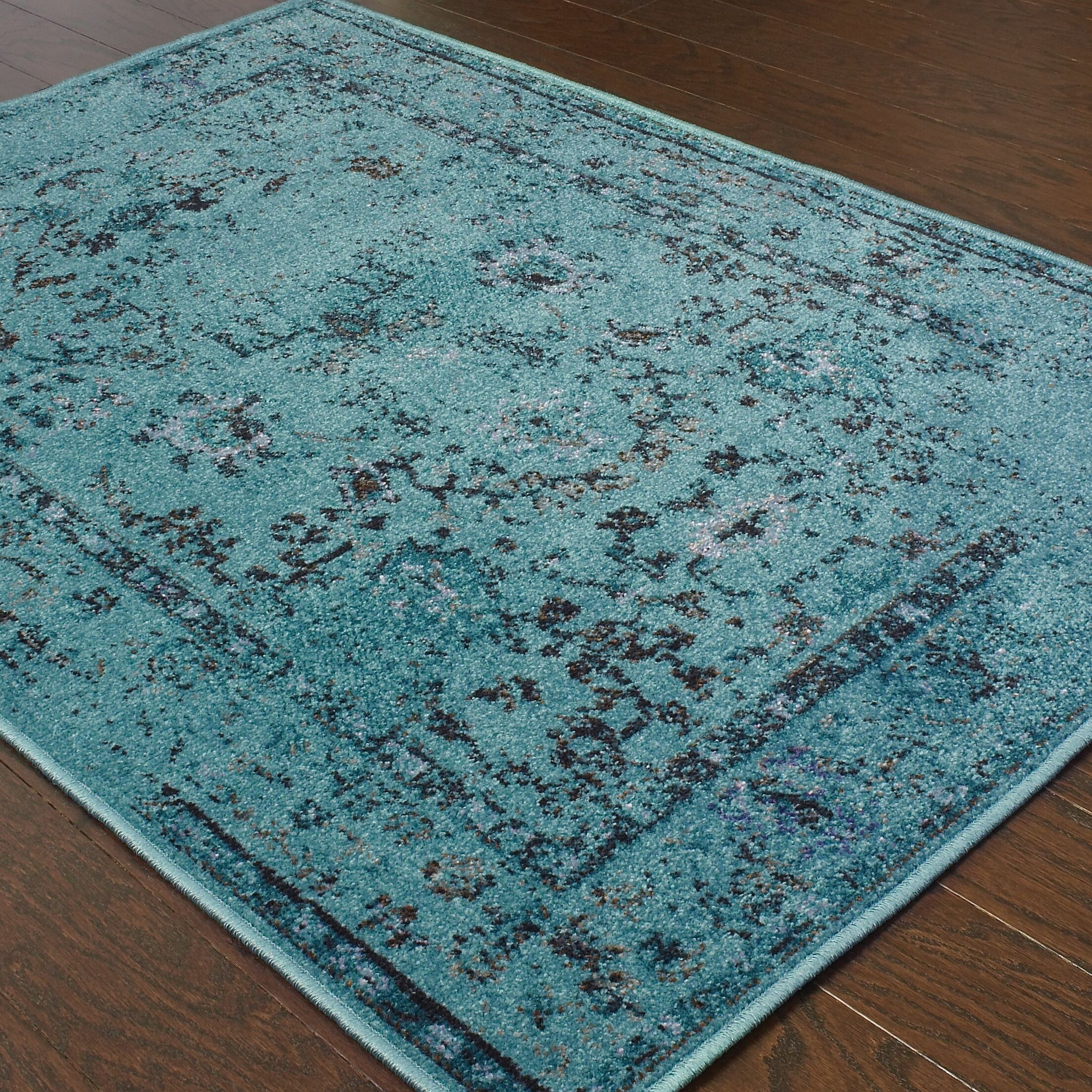 Bertina Hand Woven Teal Blue Area Rug Rug Size: Rectangle 9'10