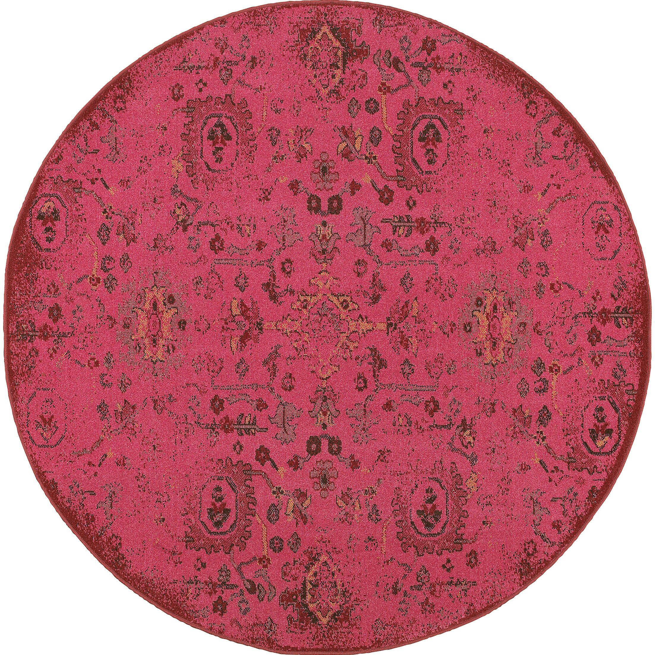 Raiden Pink Area Rug Rug Size: Round 7'8