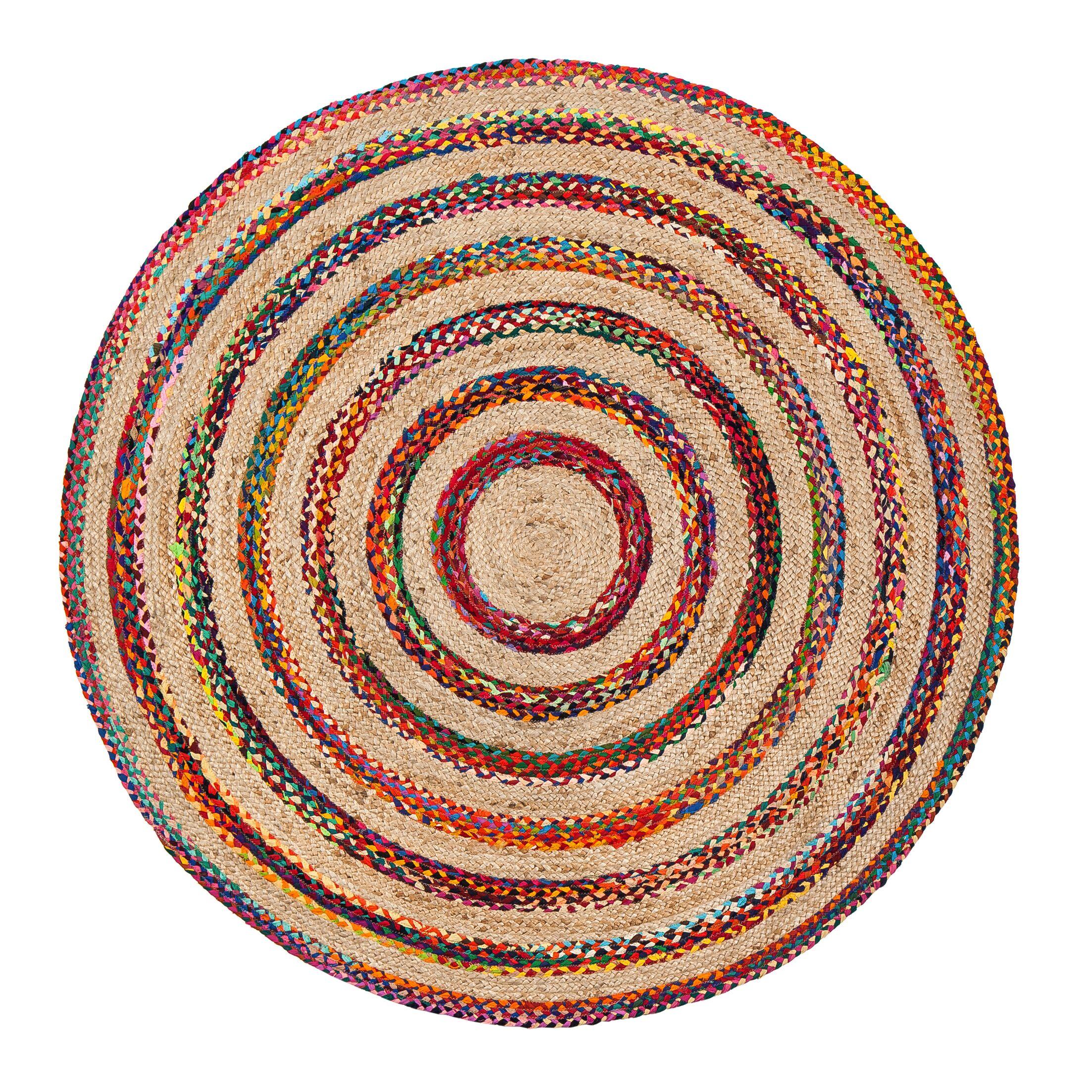Linnea Handmade Beige/Red/Blue Area Rug Rug Size: Round 6'