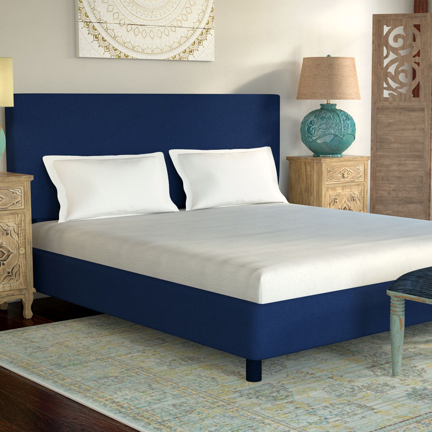 Dodson Upholstered Panel Bed Size: Queen, Color: Duck Navy