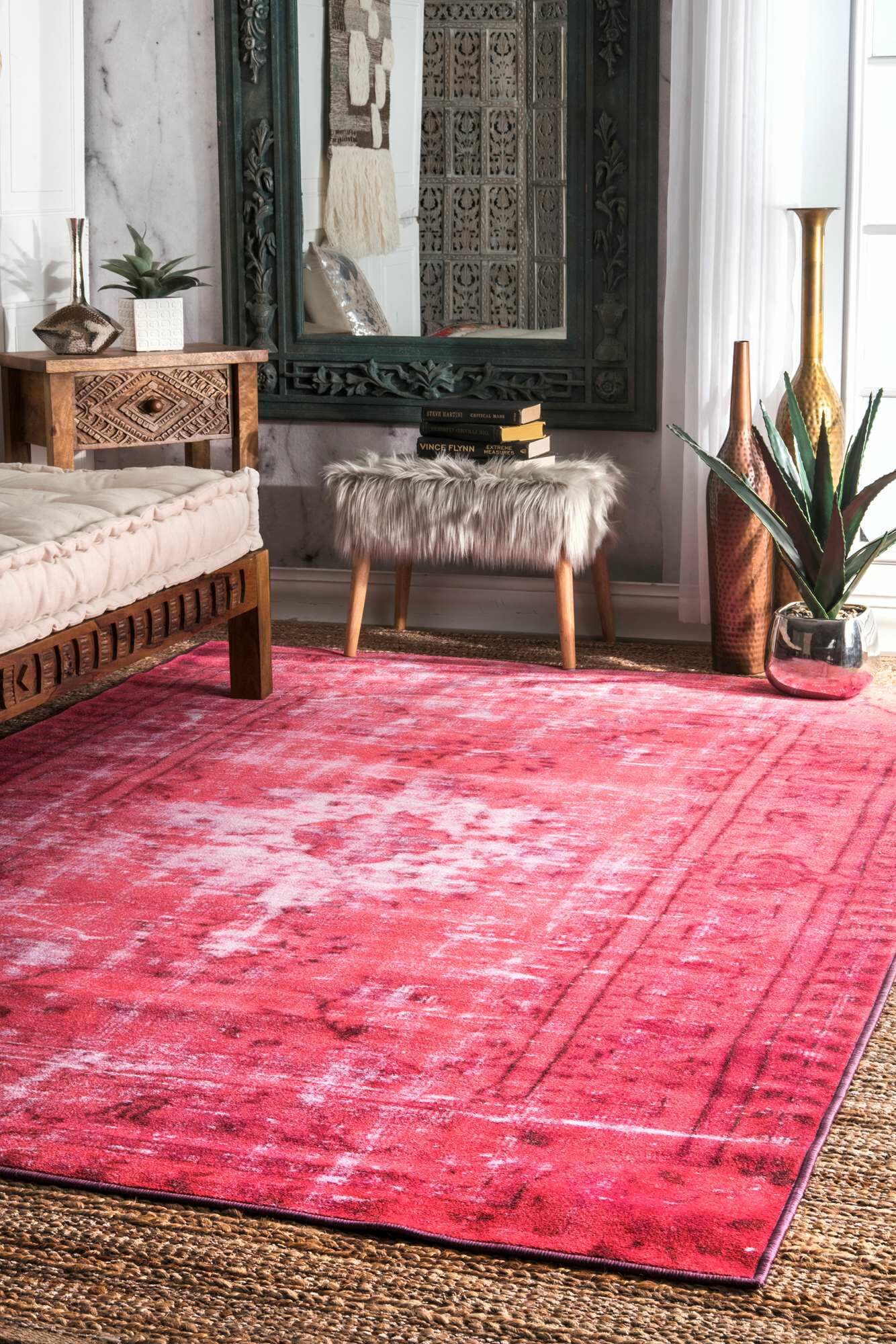 Byfield Pink Area Rug Rug Size: Rectangle 4' x 6'