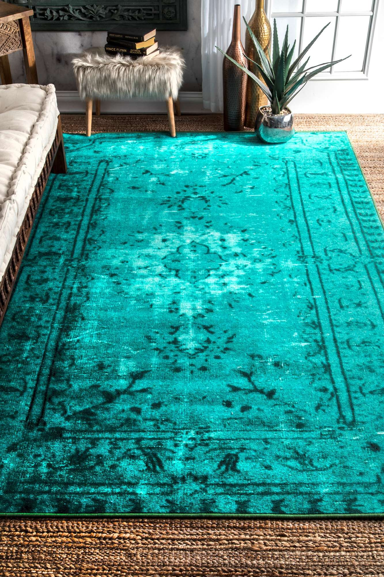 Kern Turquoise Area Rug Rug Size: Rectangle 9'2