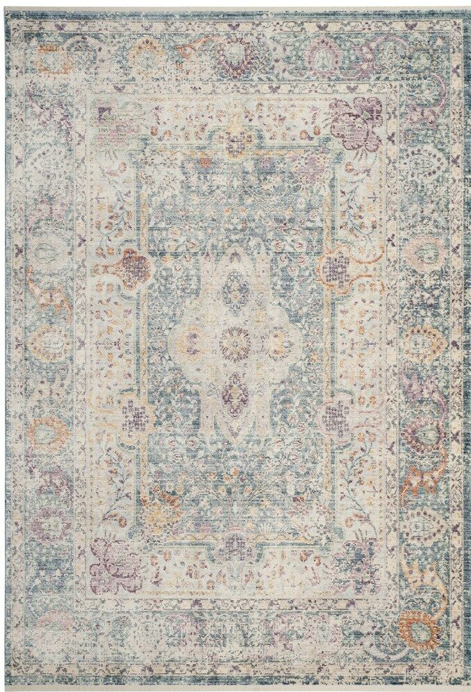 Soren Teal/Cream Area Rug Rug Size: Rectangle 8' x 10'