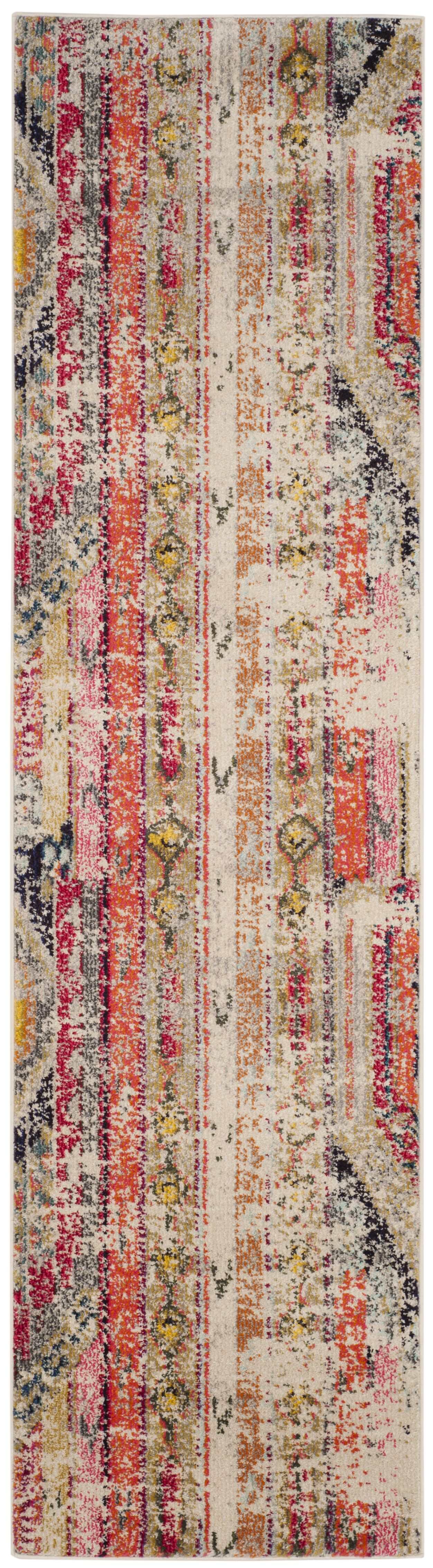 Alfred Abstract Grey/Orange/Pink Area Rug Rug Size: Runner 2'2