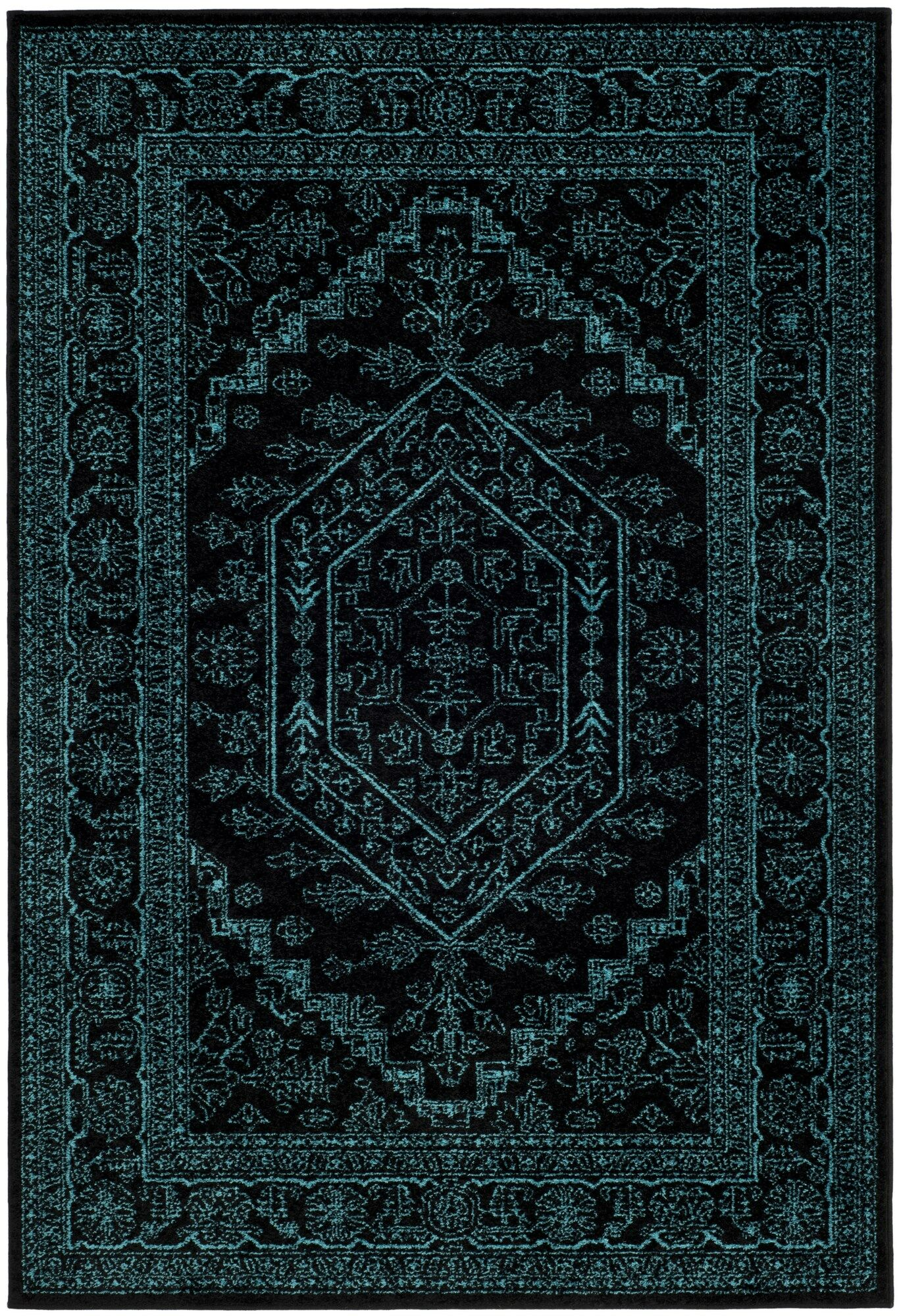 Connie Black/Teal Area Rug Rug Size: Rectangle 5'1