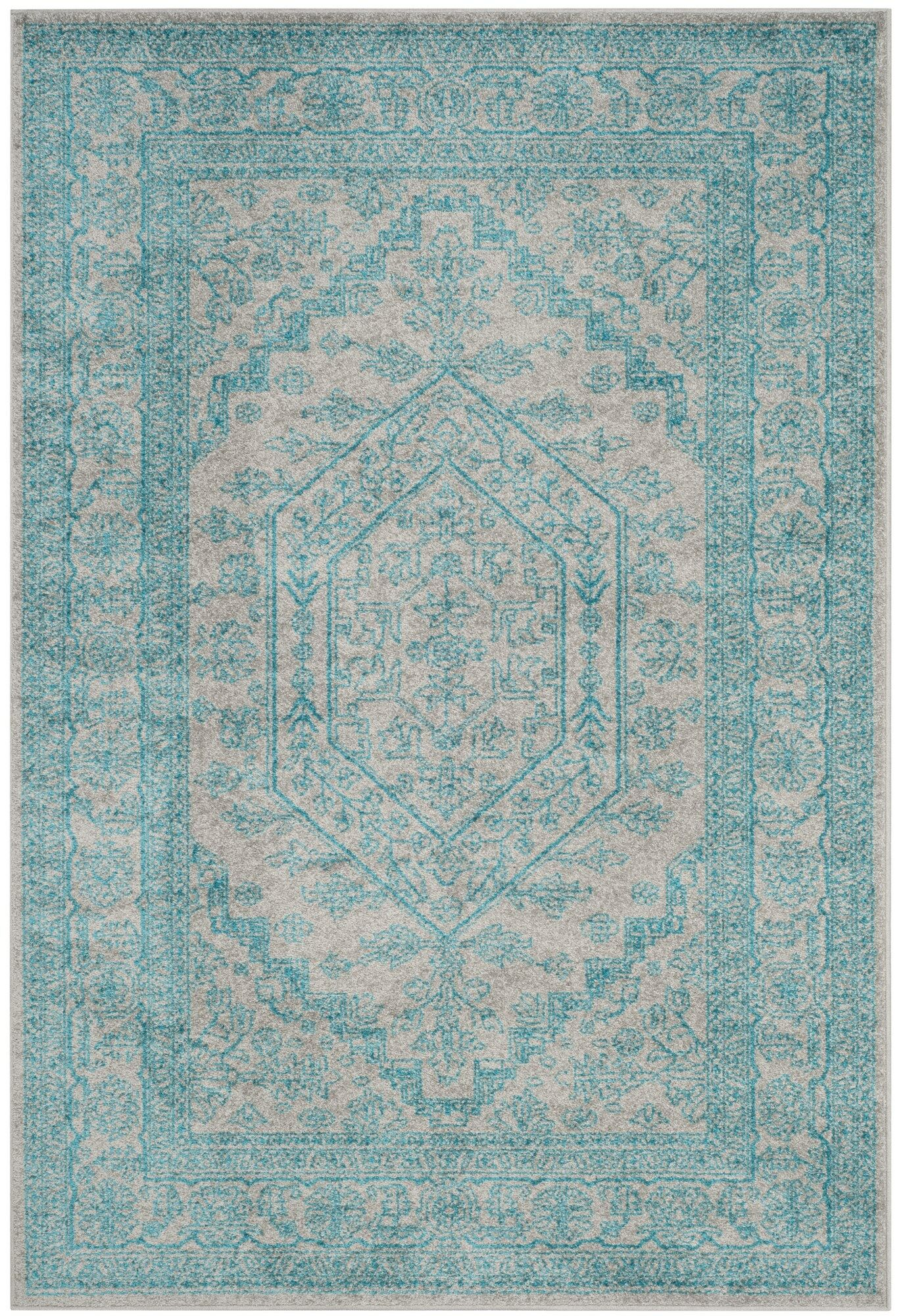 Connie Light Gray/Teal Area Rug Rug Size: Rectangle 6' x 9'