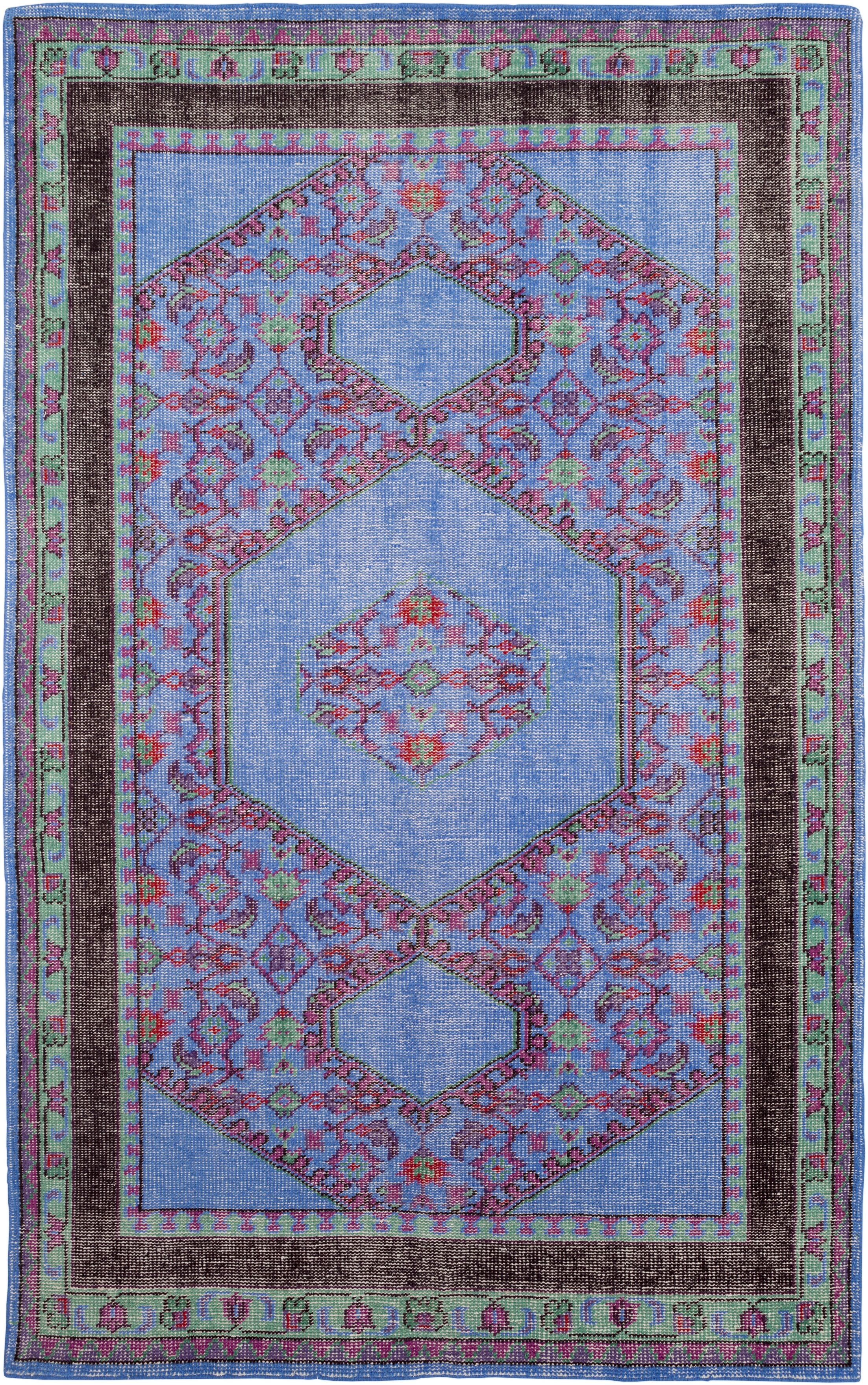 Blackshear Hand-Knotted Classic Navy/Red Area Rug Rug Size: Rectangle 5'6
