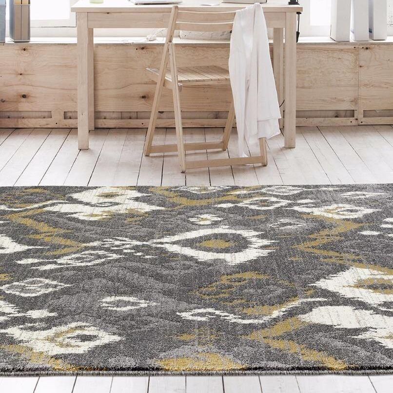 Thornton Gray/Yellow Indoor/Outdoor Area Rug Rug Size: 5'2