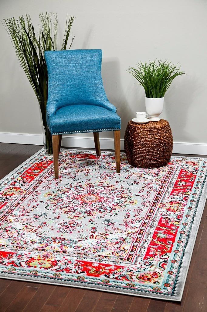 Dunlap Gray/Red Indoor/Outdoor Area Rug Rug Size: 5' x 7'