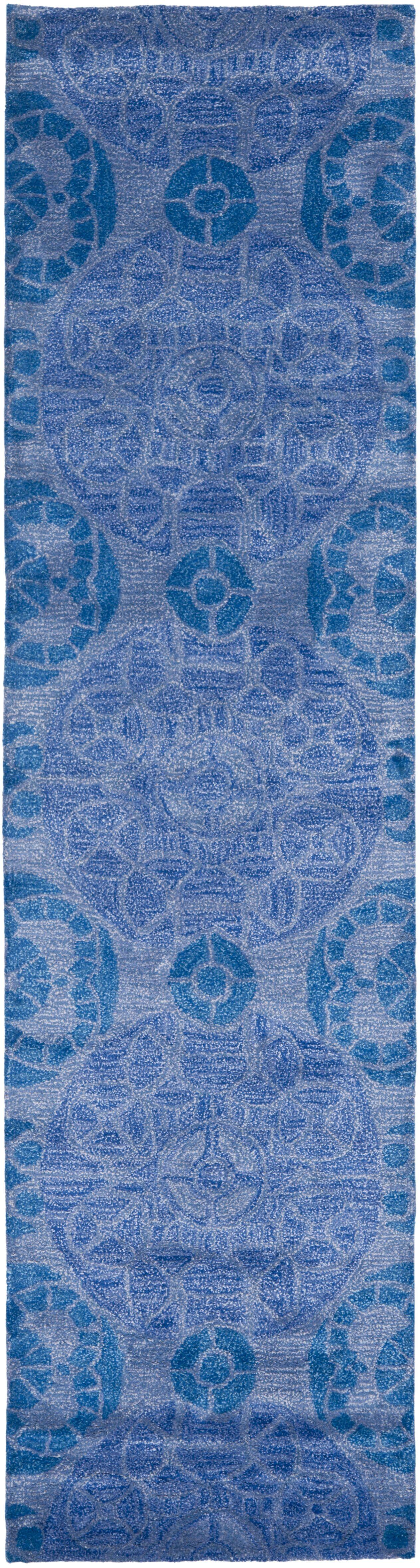 Kouerga Handmade Wool Blue Area Rug Rug Size: Runner 2'3