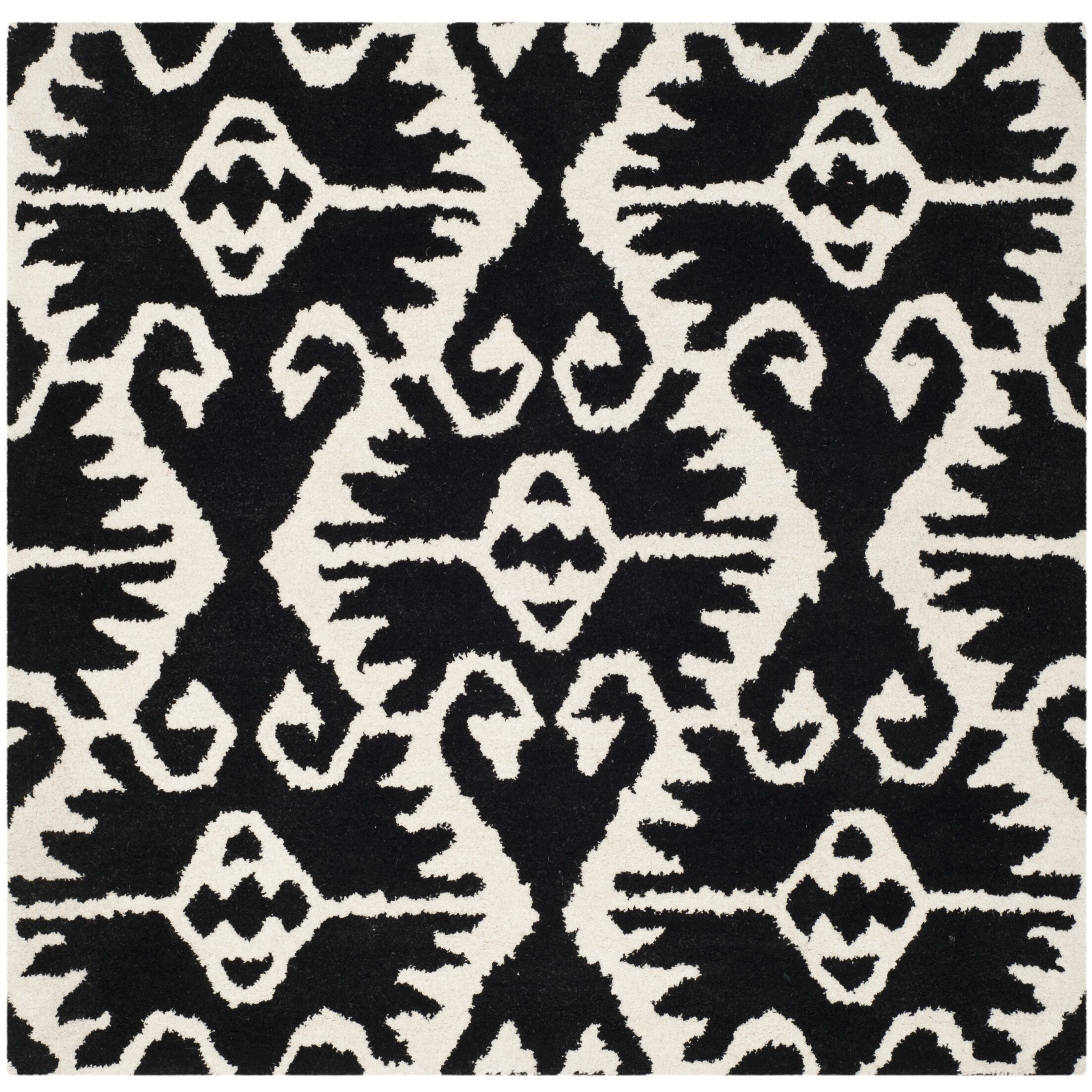 Kouerga Black & Ivory Area Rug Rug Size: Square 5'