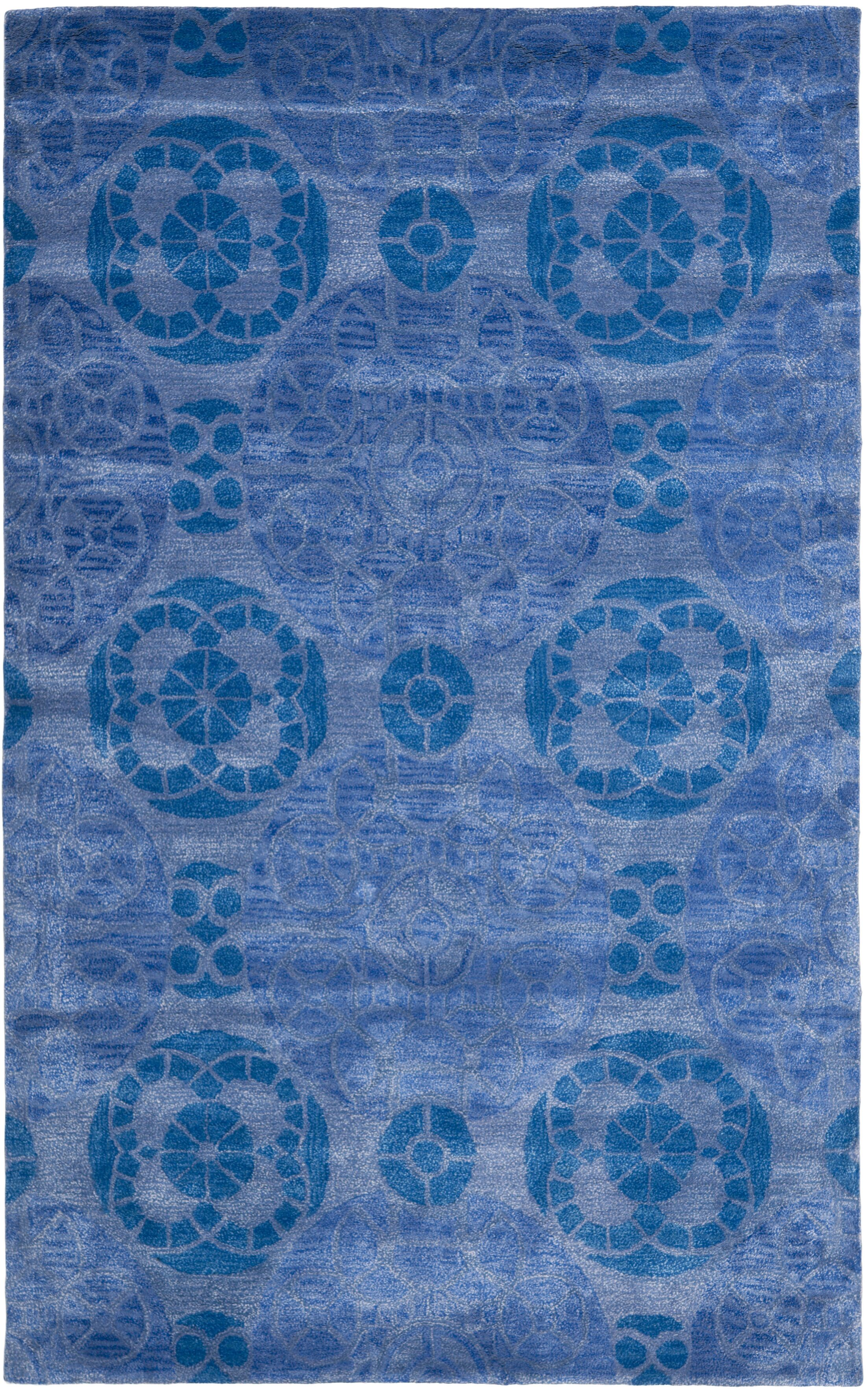 Kouerga Handmade Wool Blue Area Rug Rug Size: Rectangle 10' x 14'