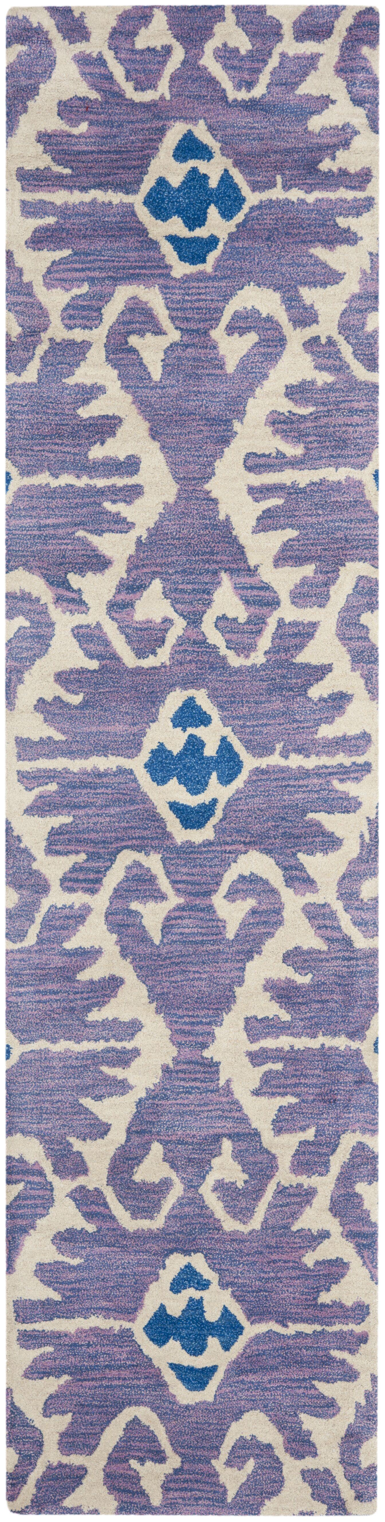 Kouerga Hand-Tufted Wool Lavender/Ivory Area Rug Rug Size: Runner 2'3