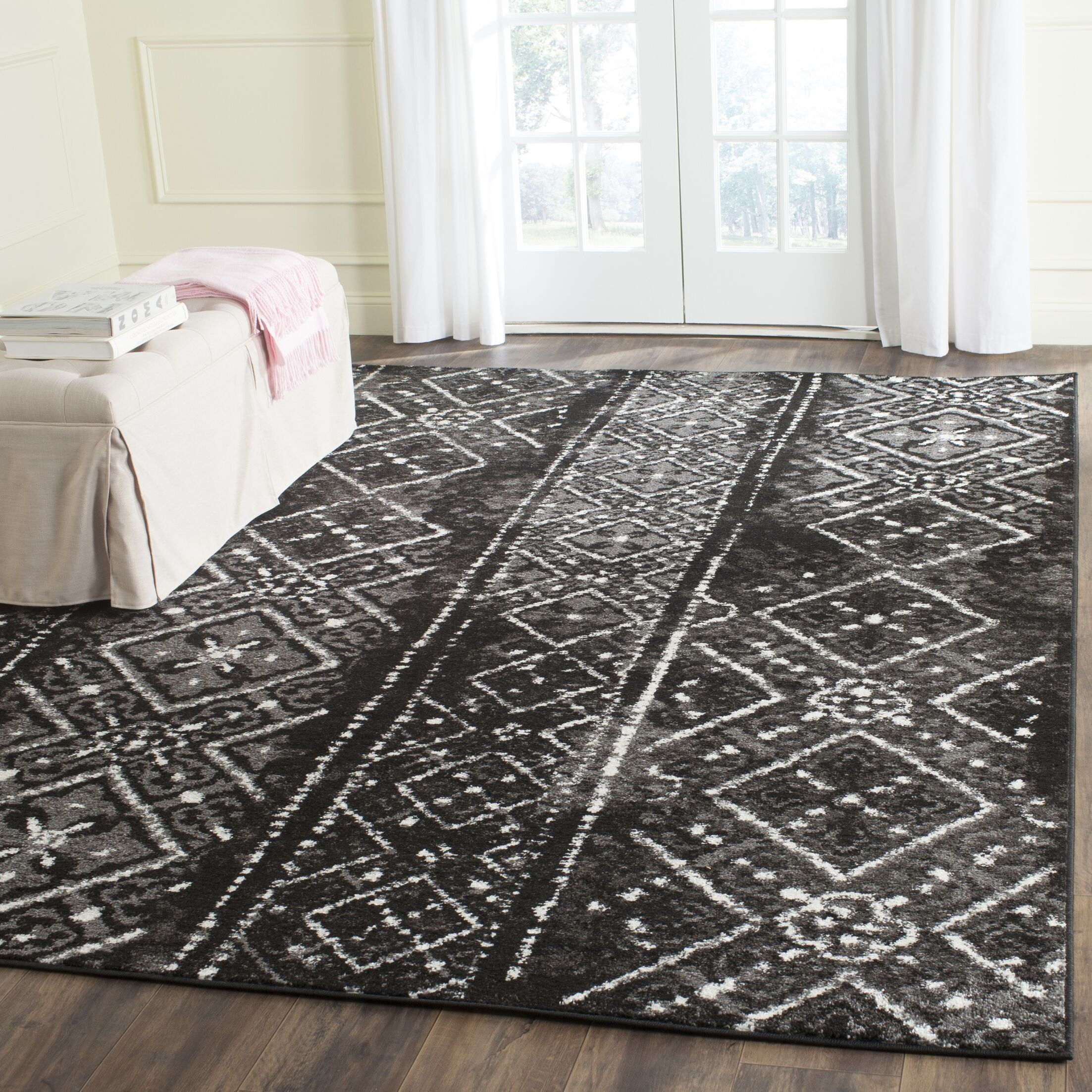 Norwell Black/Silver Area Rug Rug Size: Rectangle 9' x 12'