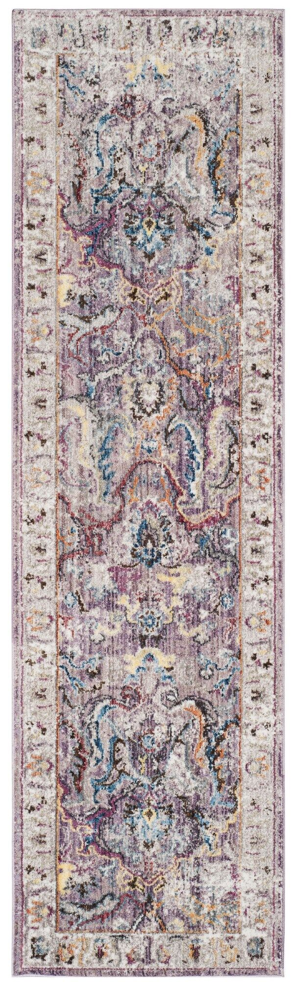 Fitz Lavender/Light Gray Area Rug Rug Size: Runner 2'3
