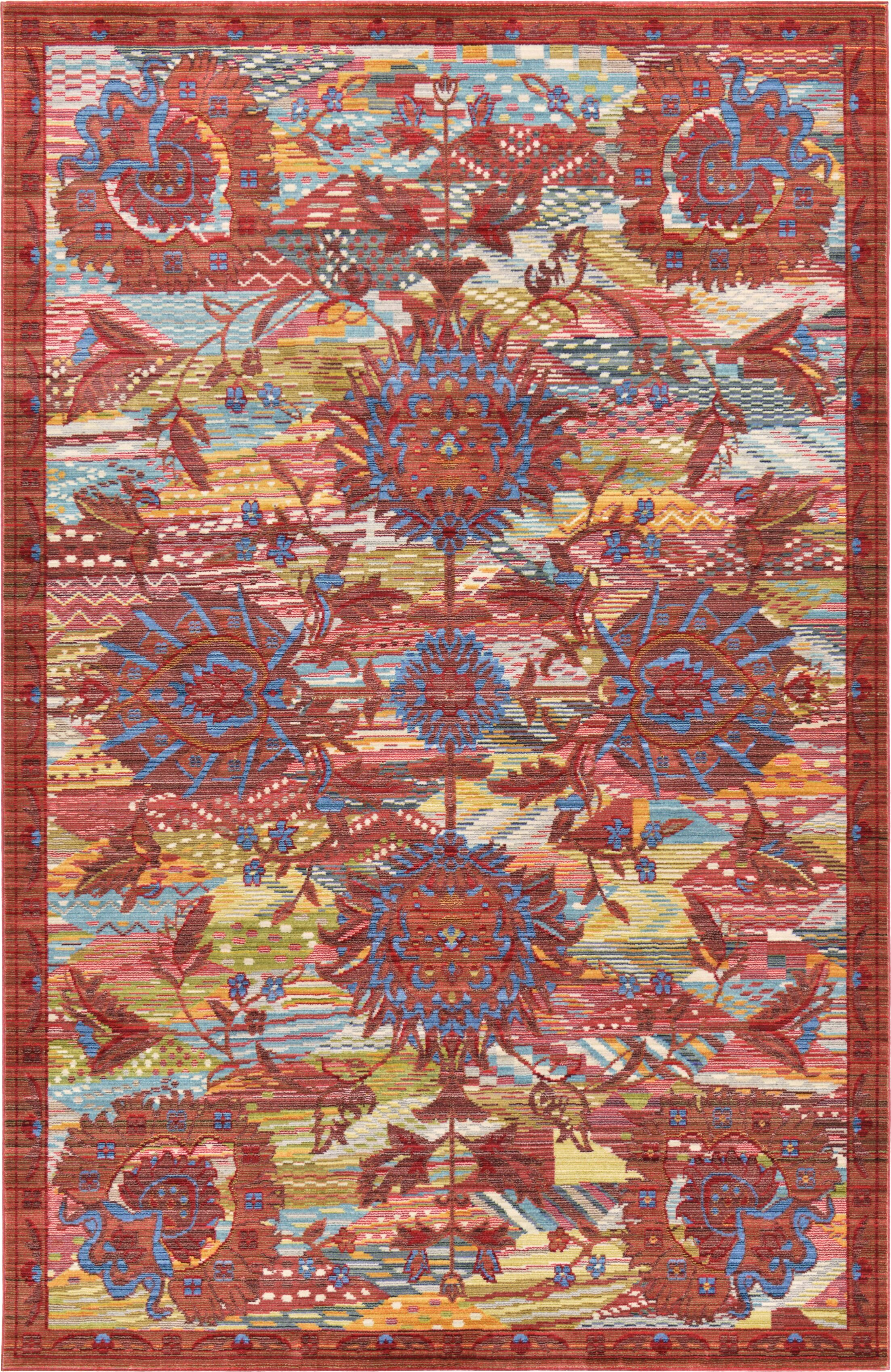 Rune Red Area Rug Rug Size: Rectangle 8' x 10'