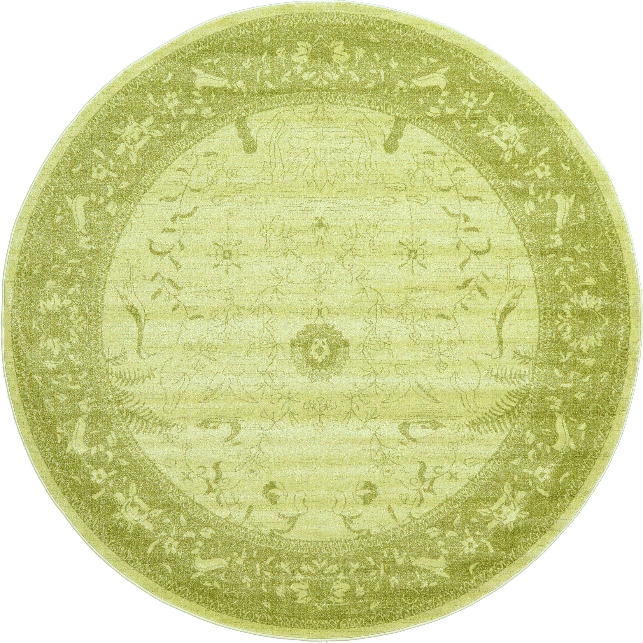 Shailene Light Green Area Rug Rug Size: Round 8'
