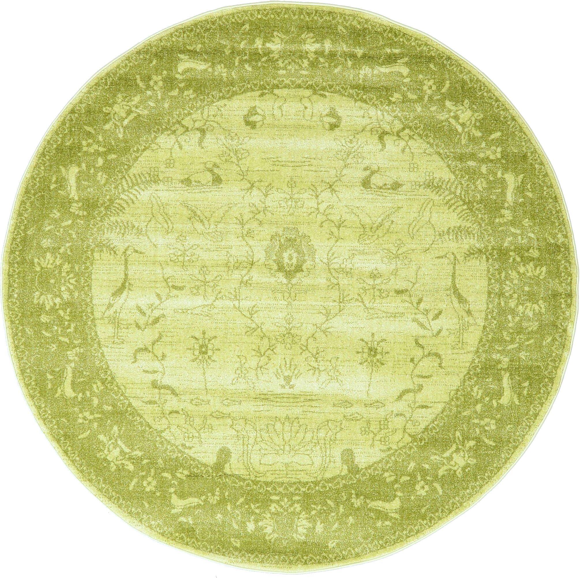 Shailene Light Green Area Rug Rug Size: Round 6'
