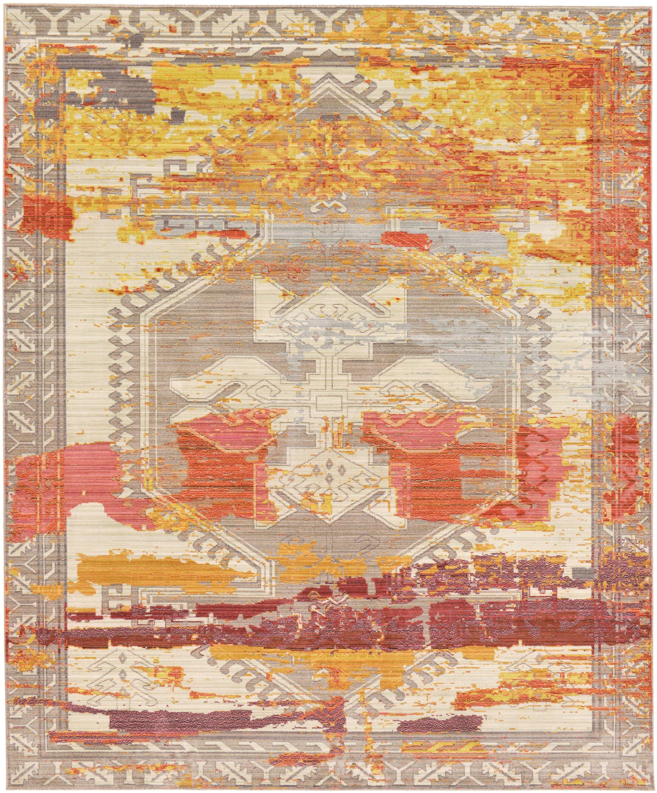 Rune Gray/Orange Area Rug Rug Size: Rectangle 5' x 8'