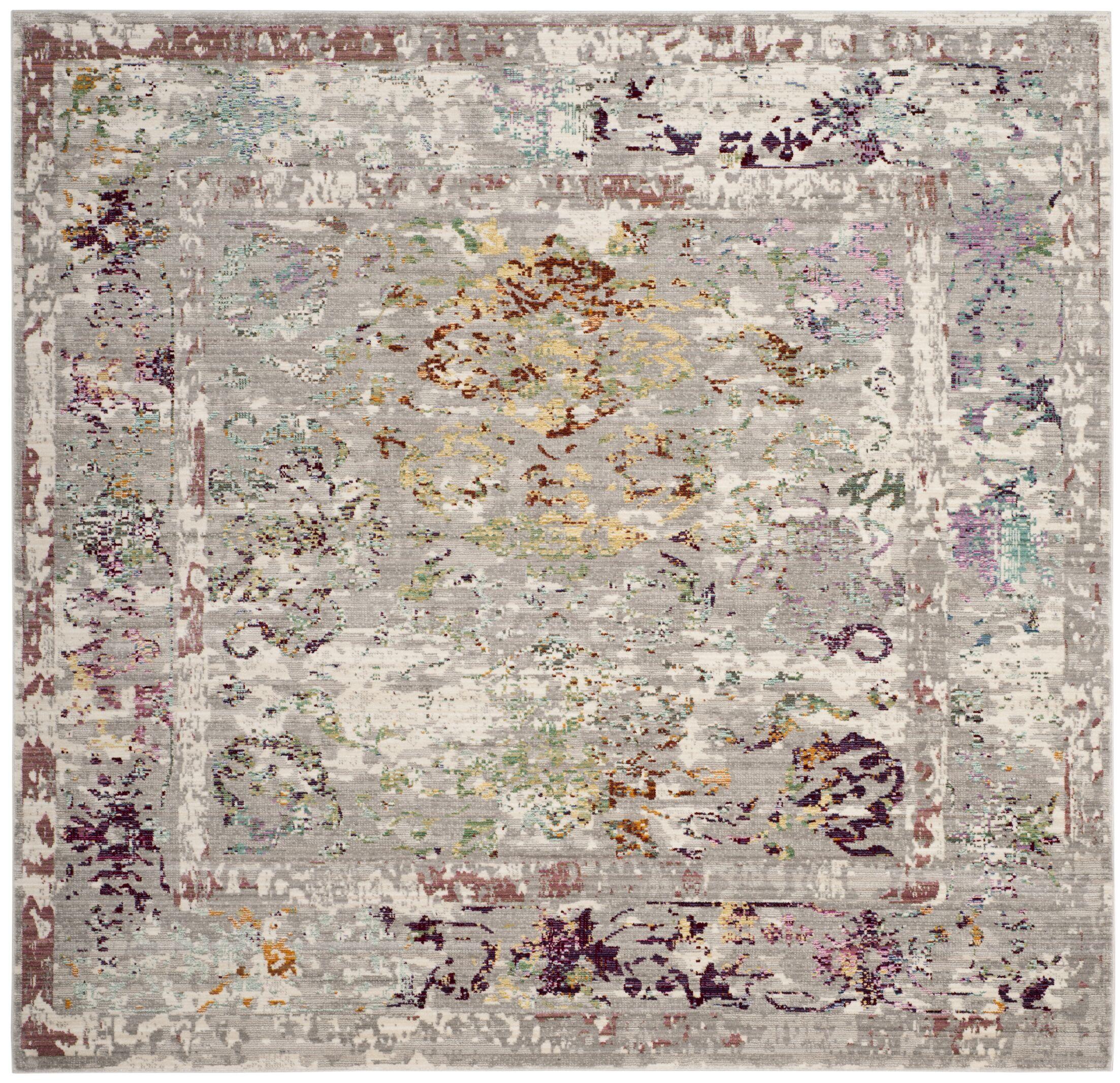 Lulu Rectangle Gray/Multi Area Rug Rug Size: Square 6'7