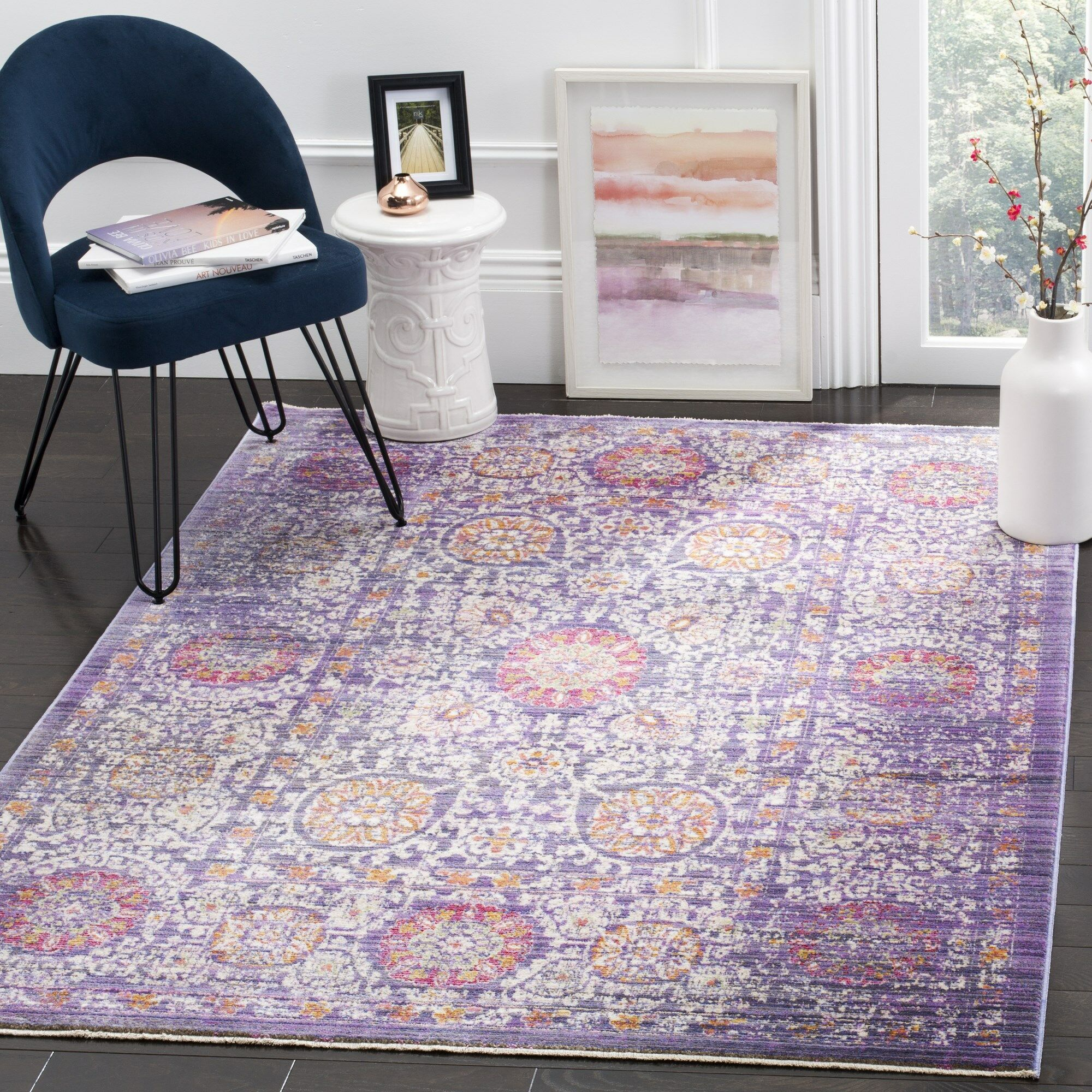 Justine Beige/Purple Area Rug Rug Size: Rectangle 4' x 6'