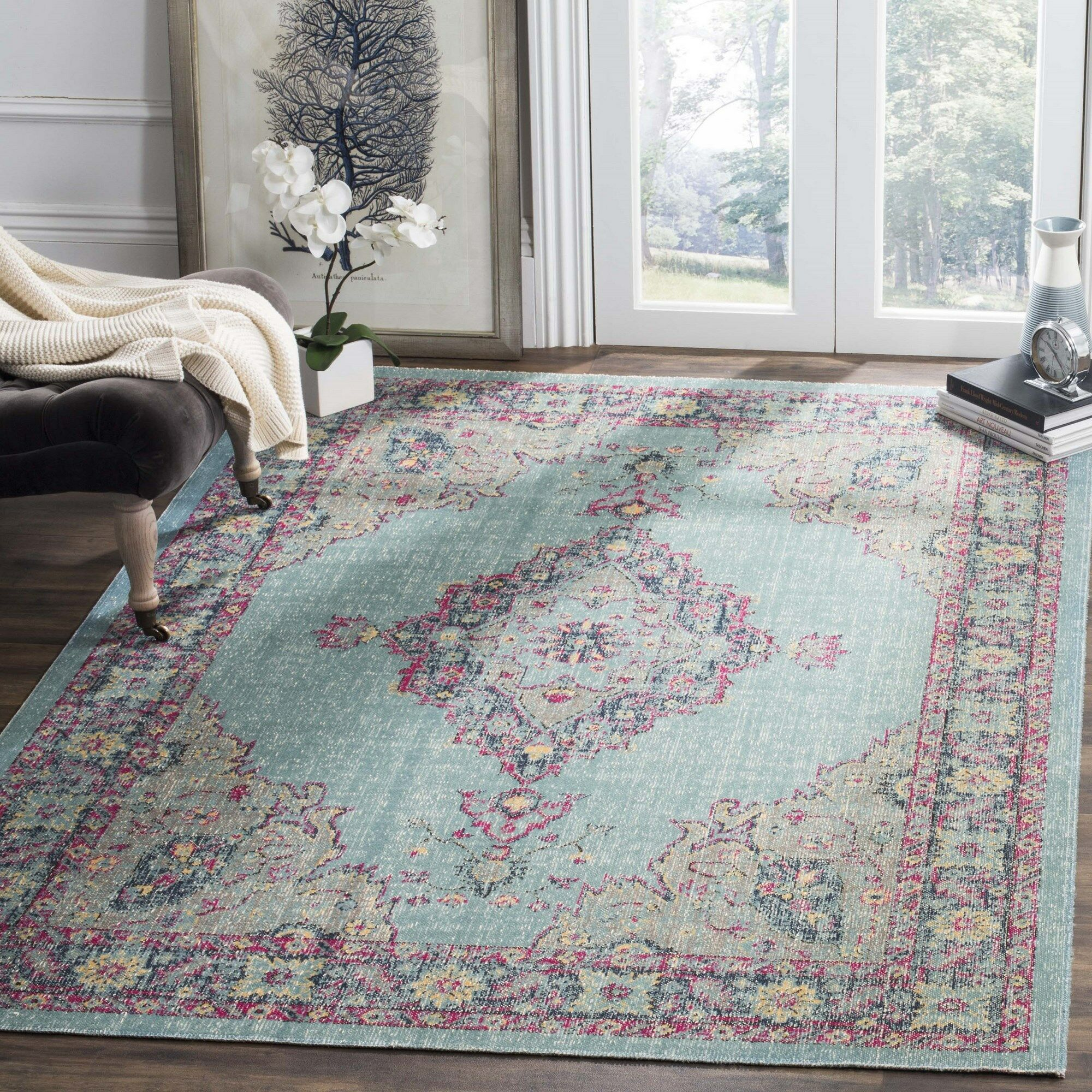 Bunn Light Blue/Navy Area Rug Rug Size: Rectangle 6'7