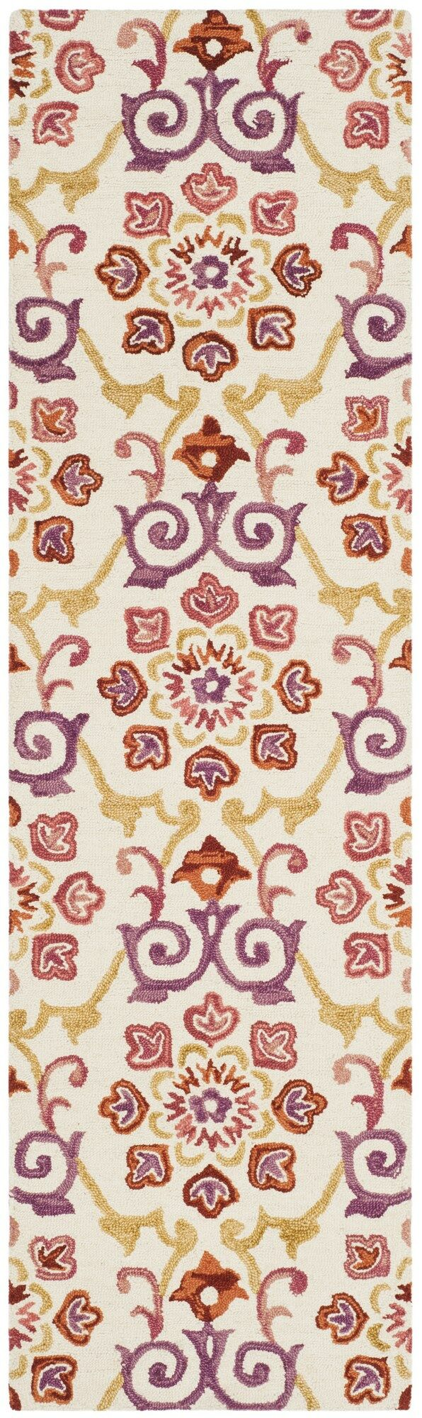 Tomo Hand-Hooked Ivory/Rust Area Rug Rug Size: Runner 2'3