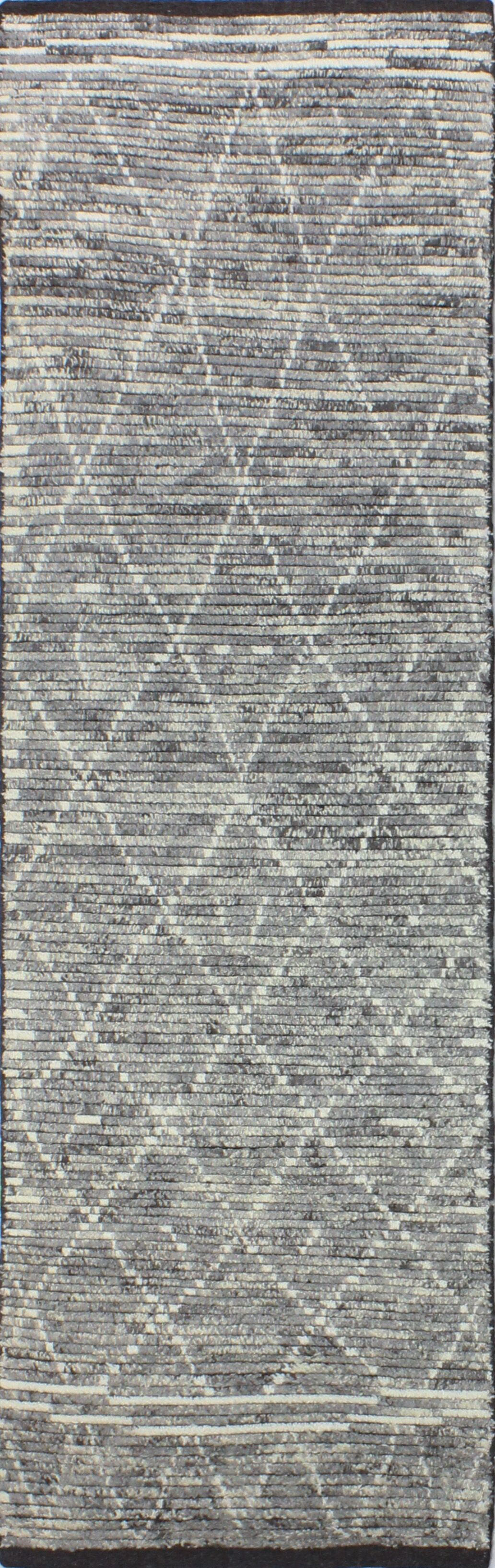 Floressa Hand-Knotted Wool Gray Area Rug Rug Size: Runner 2'6